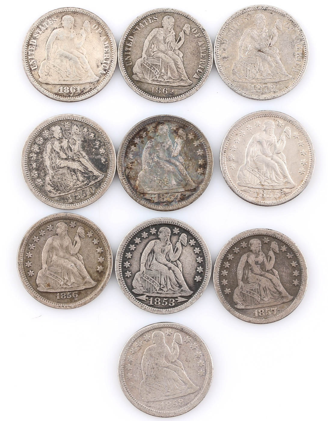 Group of Ten Seated Liberty Silver Dimes Including 1861