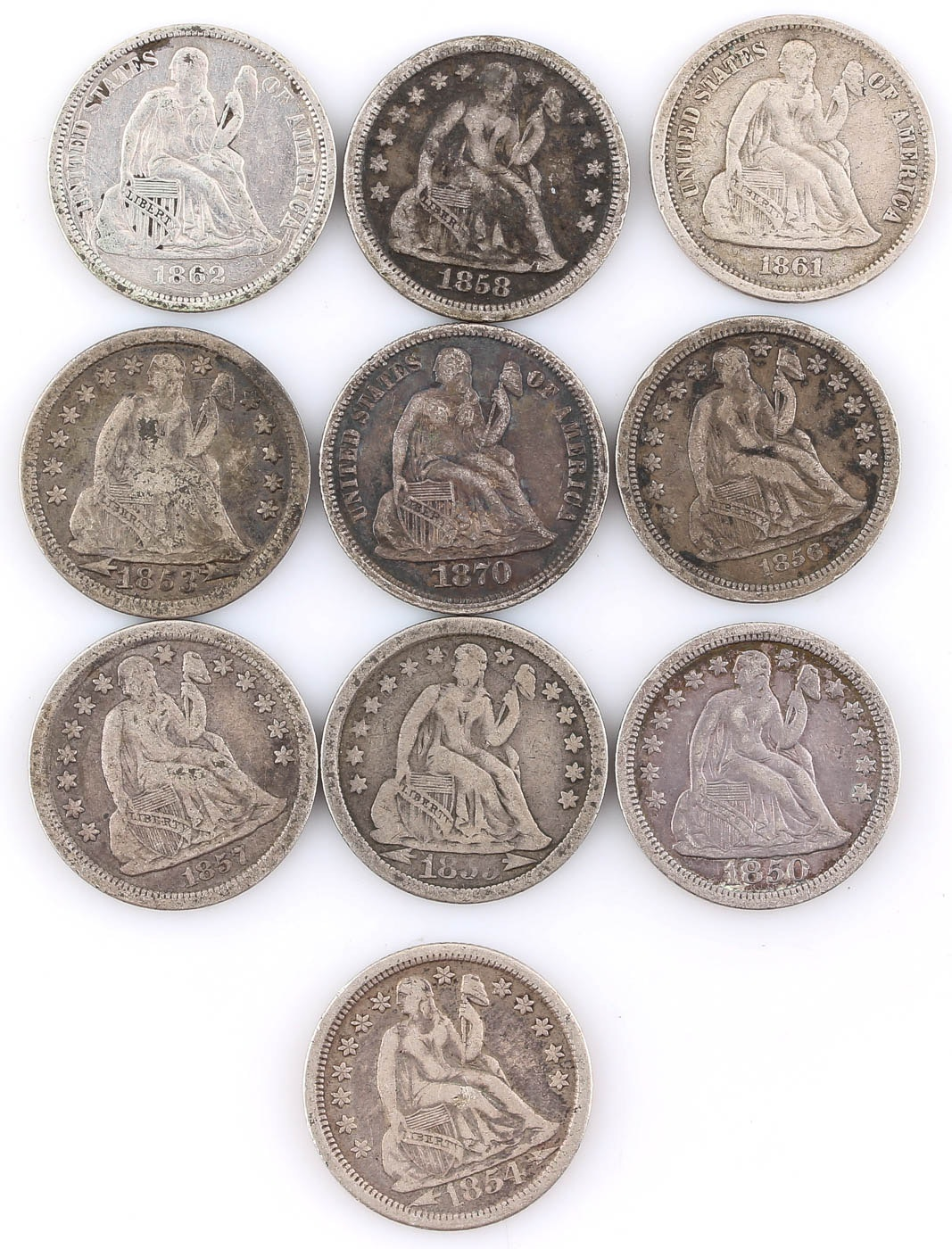 Group of Ten Seated Liberty Silver Dimes Including 1862