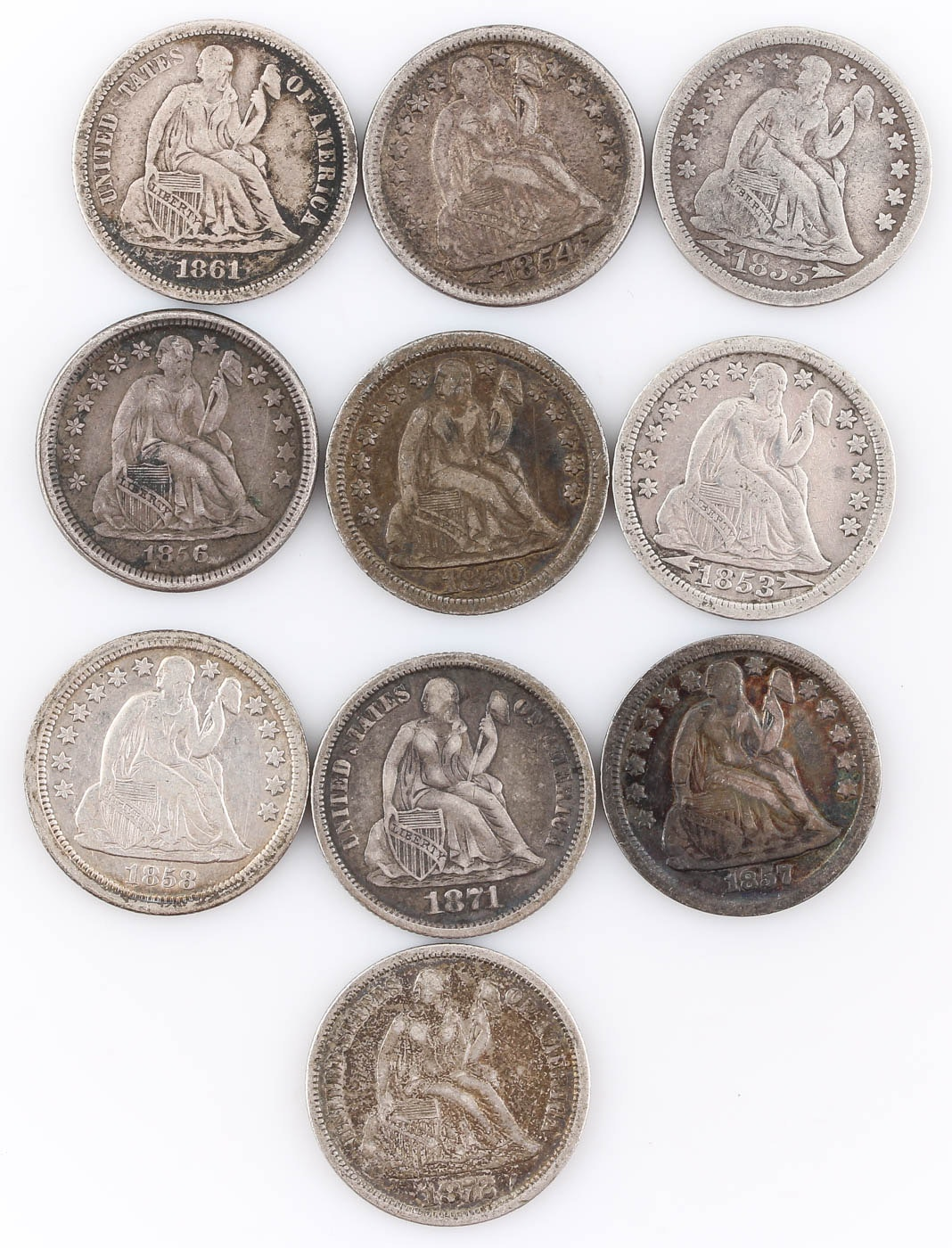 Group of Ten Seated Liberty Silver Dimes Including 1871