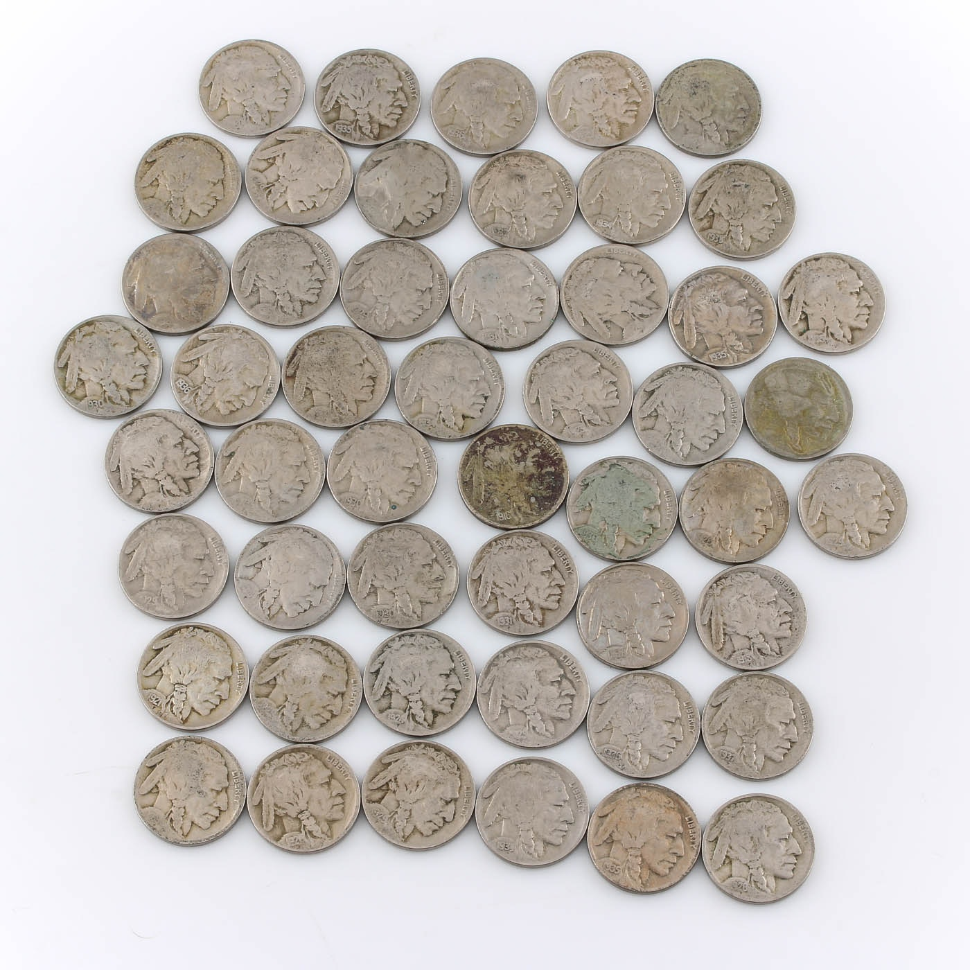 Group of Fifty Buffalo Nickels of Varying Years