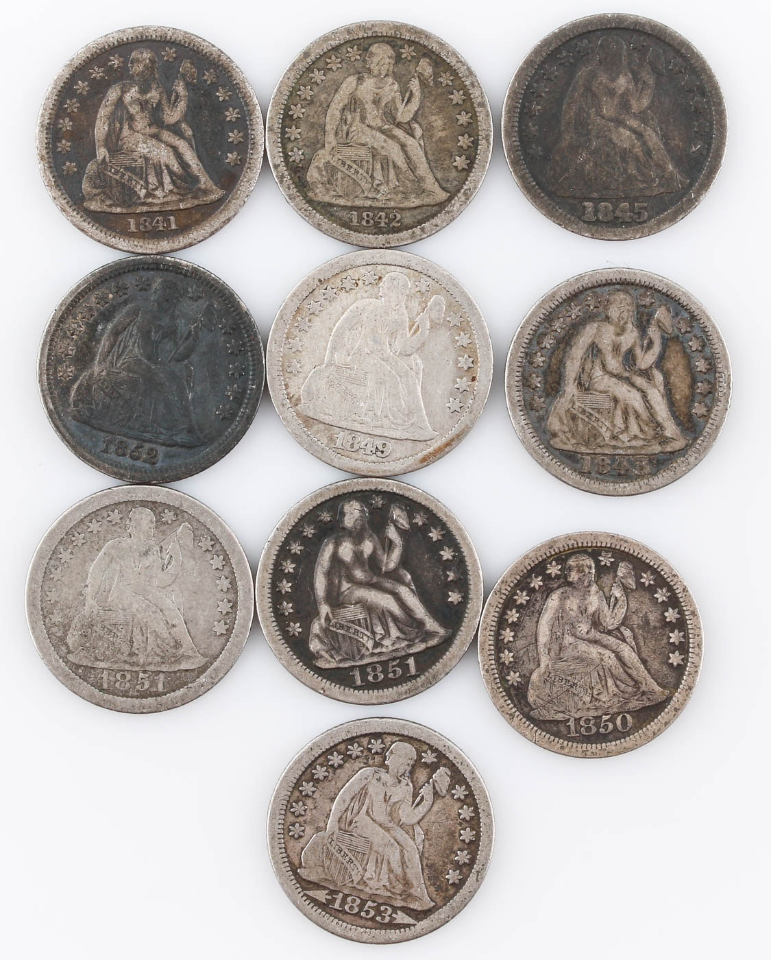Group of Ten Seated Liberty Silver Dimes Including 1841