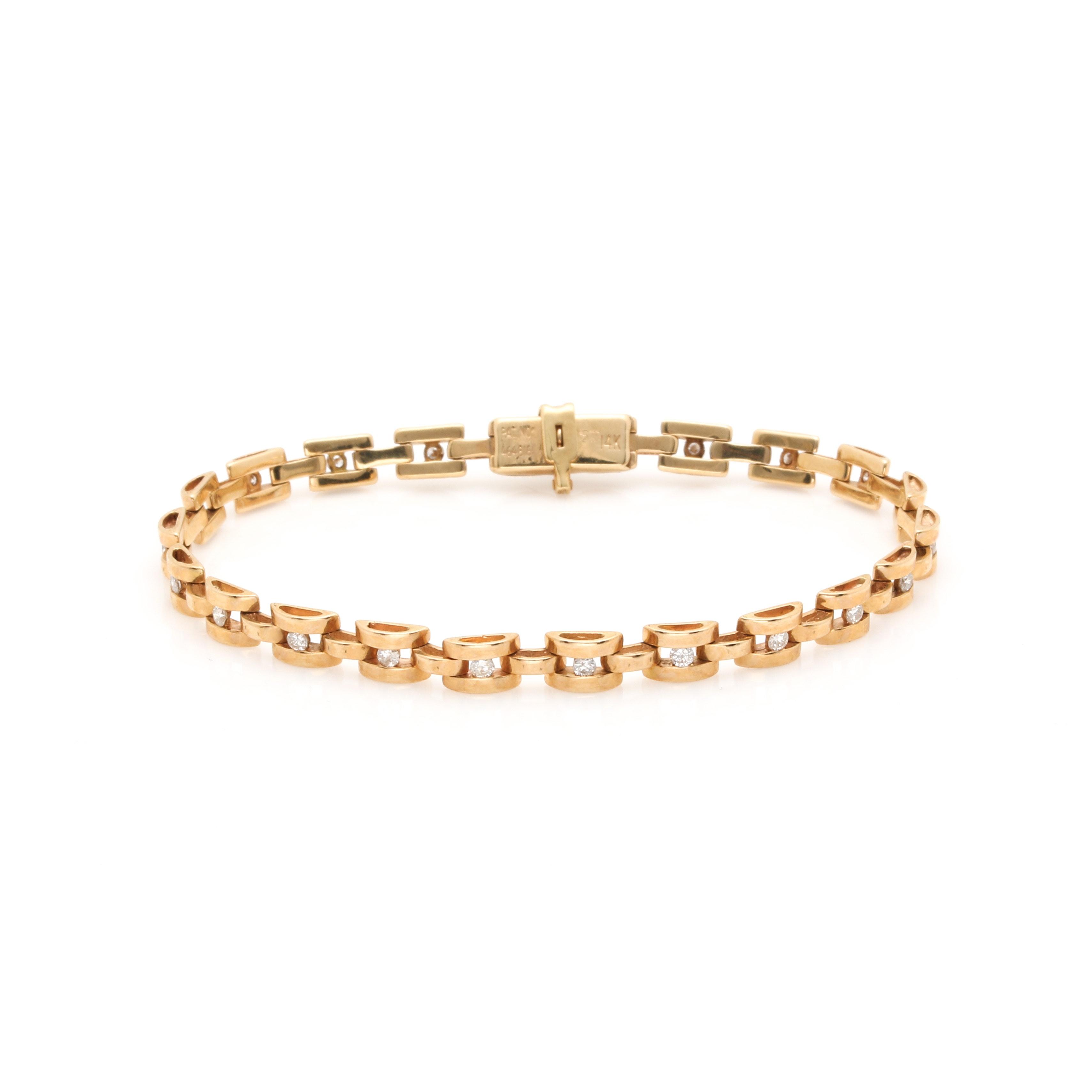 14K Yellow Gold Diamond Link Bracelet