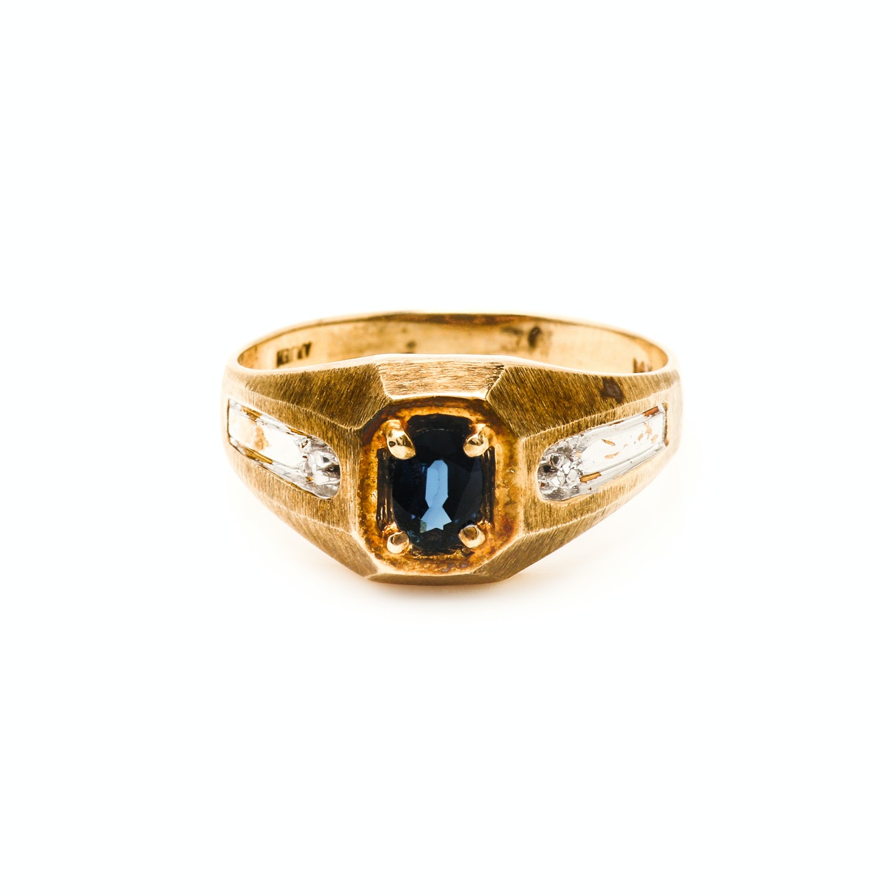 14K Yellow Gold Sapphire Ring With Diamond Accents