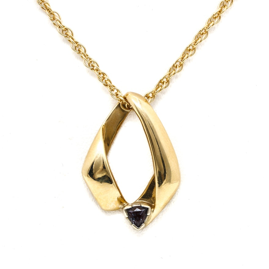 14k yellow gold color change sapphire omega slide pendant on link 14k yellow gold color change sapphire omega slide pendant on link chain aloadofball Images