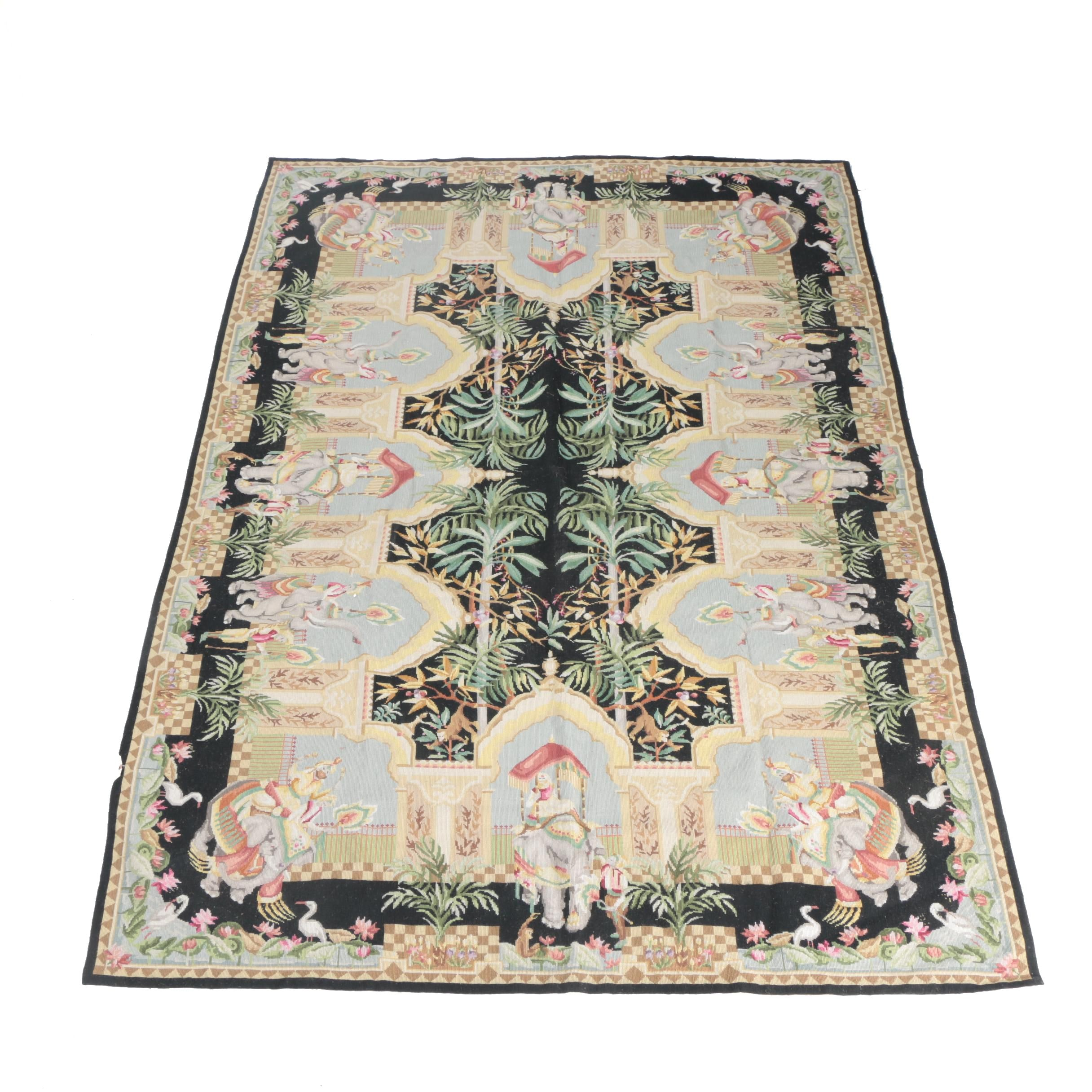 Needlepoint Pictorial Wool Area Rug