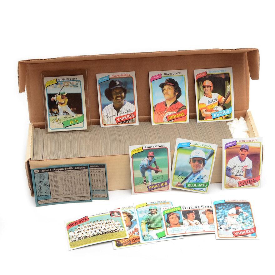 1980 Topps Baseball Card Set With Rickey Henderson Rookie Card