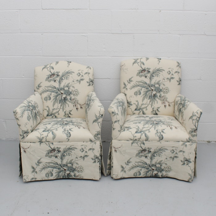 Two Linen Print Lounge Chairs