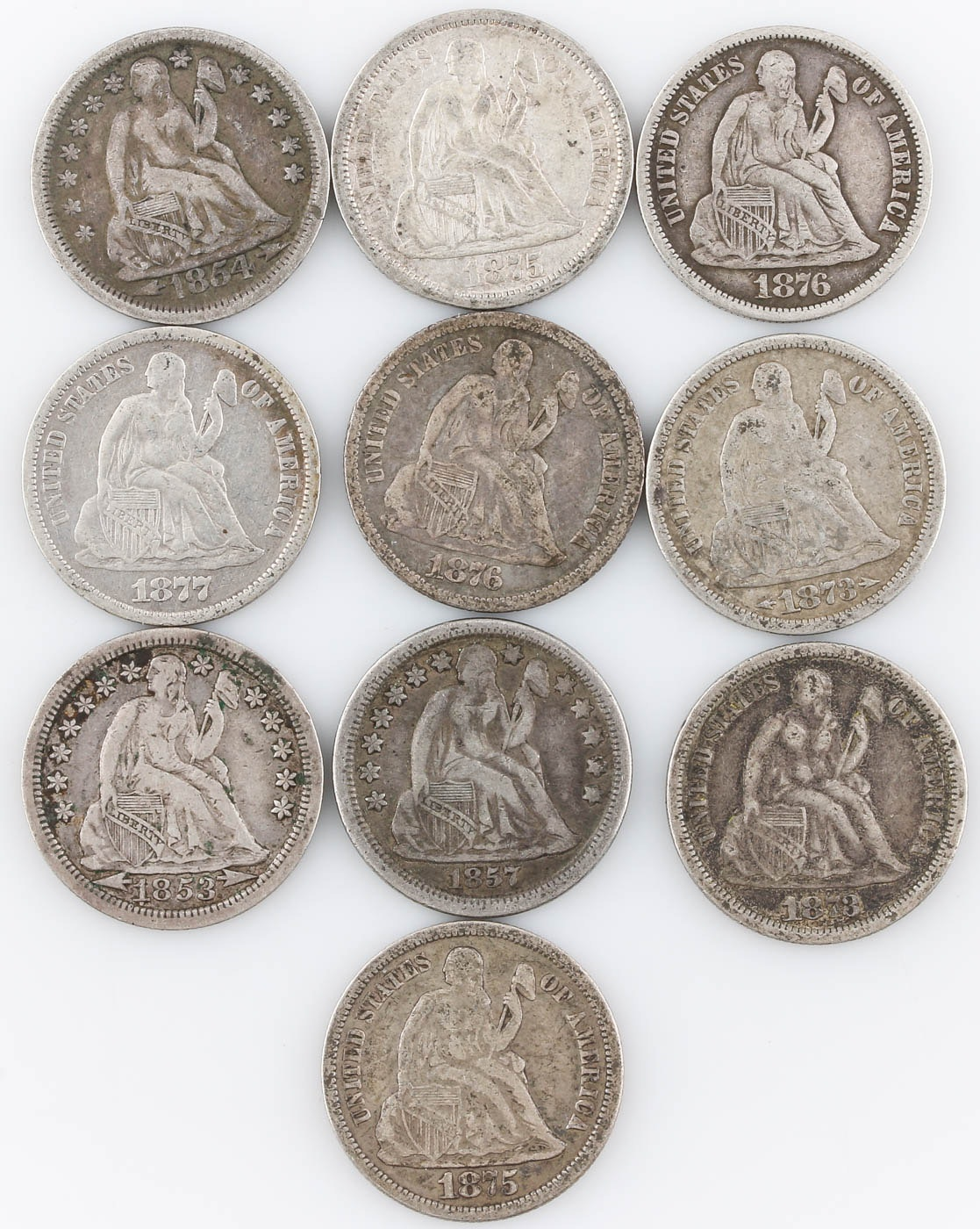 Group of Ten Seated Liberty Silver Dimes Including 1877