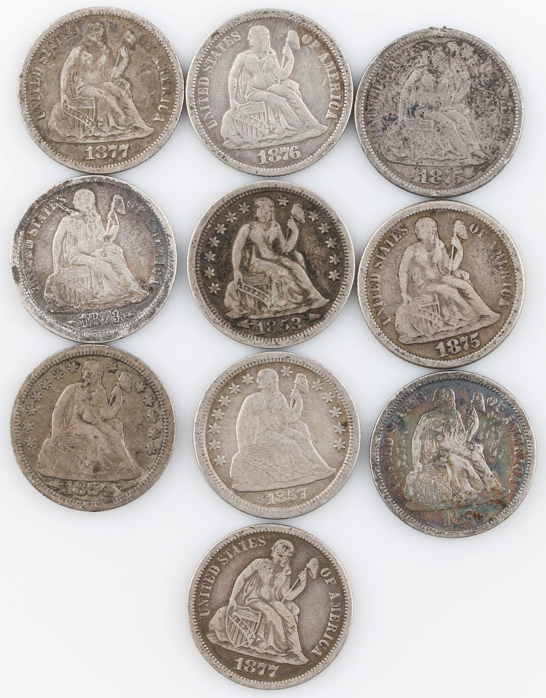 Group of Ten Seated Liberty Silver Dimes Including 1877-S