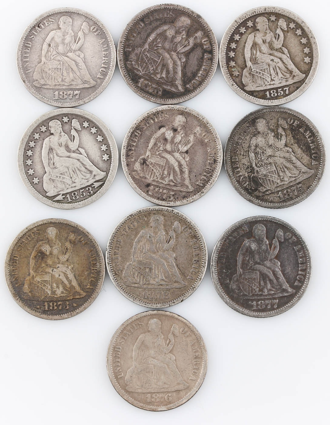 Group of Ten Seated Liberty Silver Dimes Including 1878