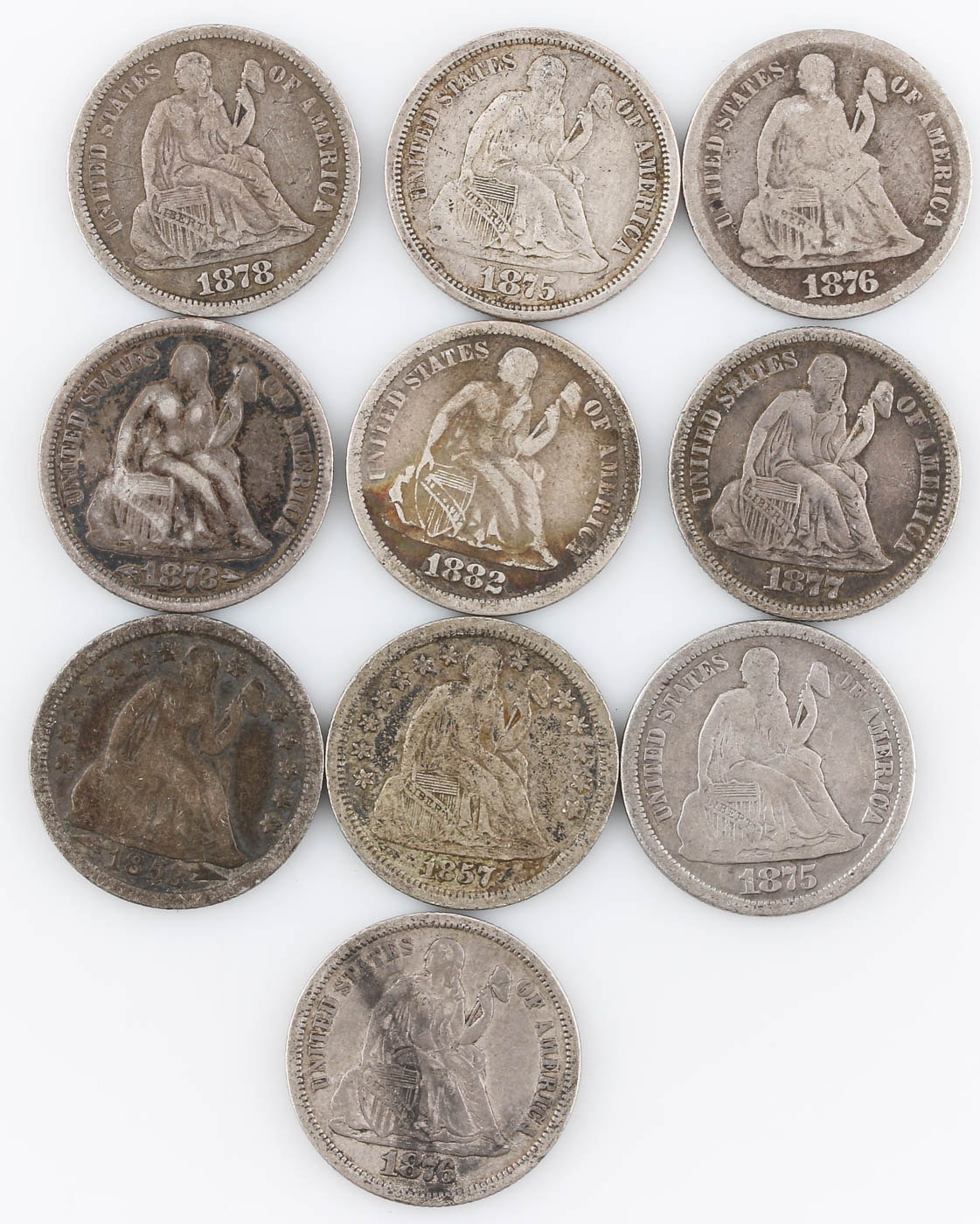 Group of Ten Seated Liberty Silver Dimes Including 1882
