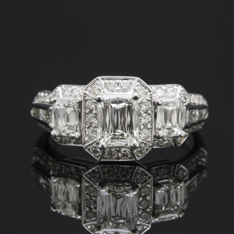 Christopher Designs 18K White Gold Crisscut® 1.82 CTW Diamond Ring