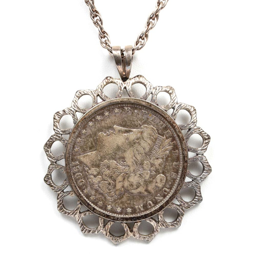 Sterling silver necklace with a 1900 o morgan silver dollar sterling silver necklace with a 1900 o morgan silver dollar pendant mozeypictures Choice Image