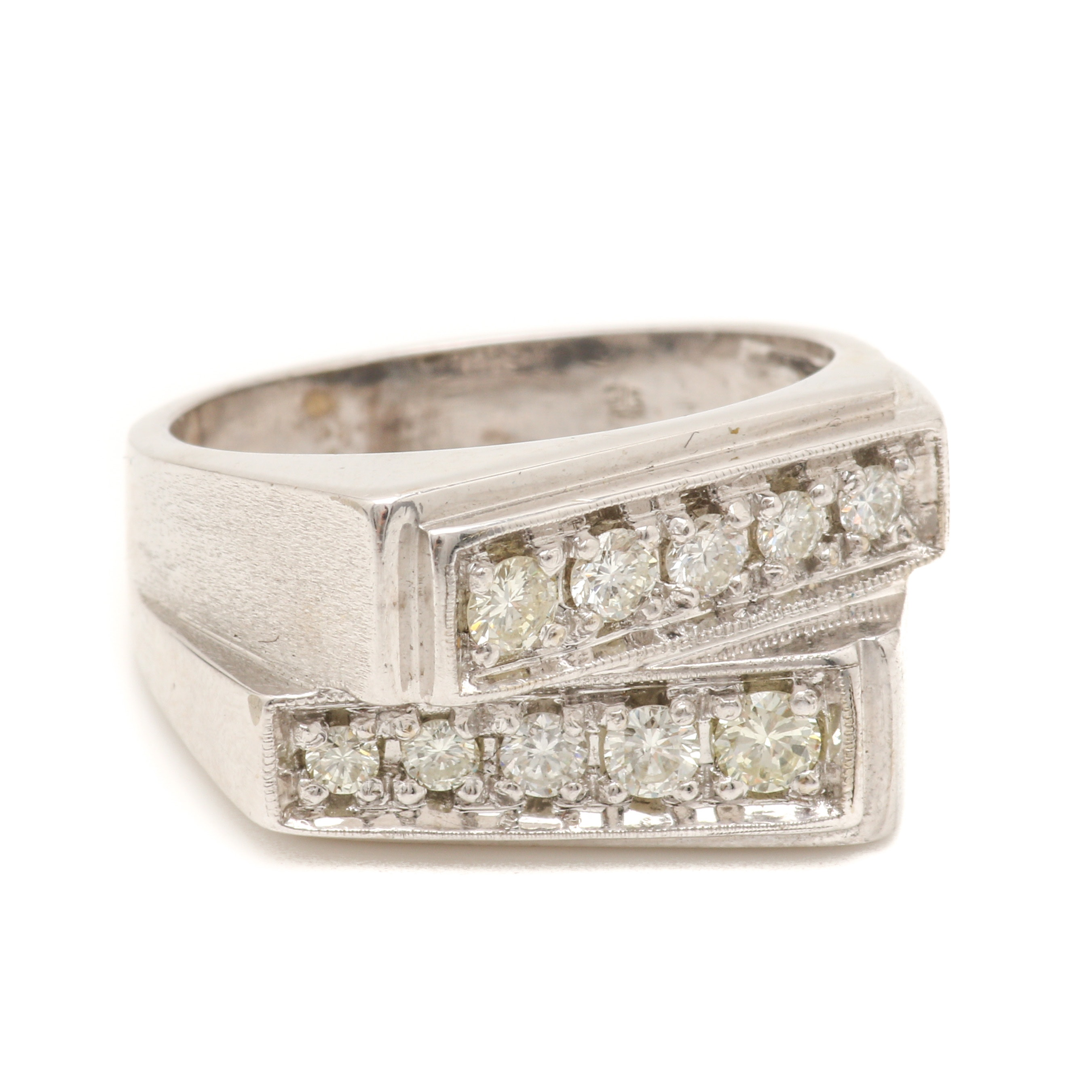 14K White Gold Diamond Contemporary Band