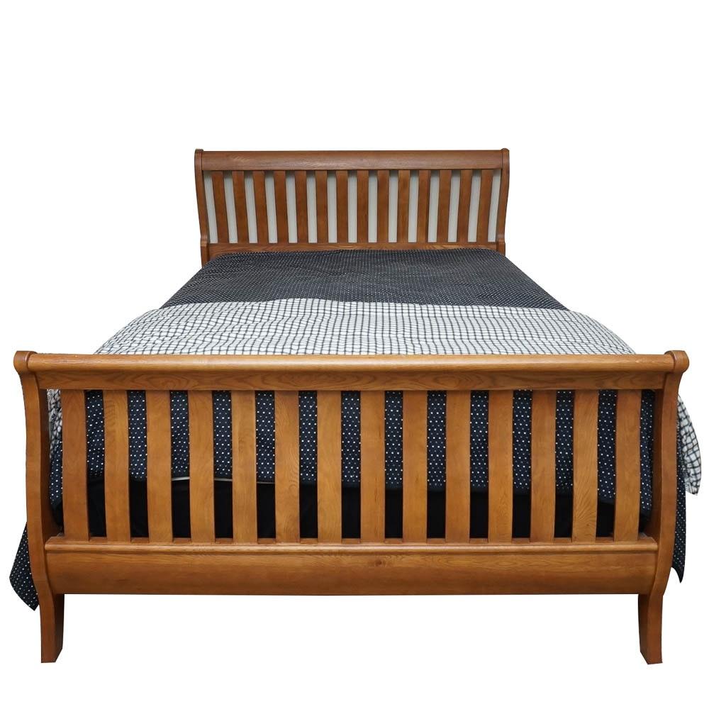 Oak Sleigh Queen-Size Bed Frame
