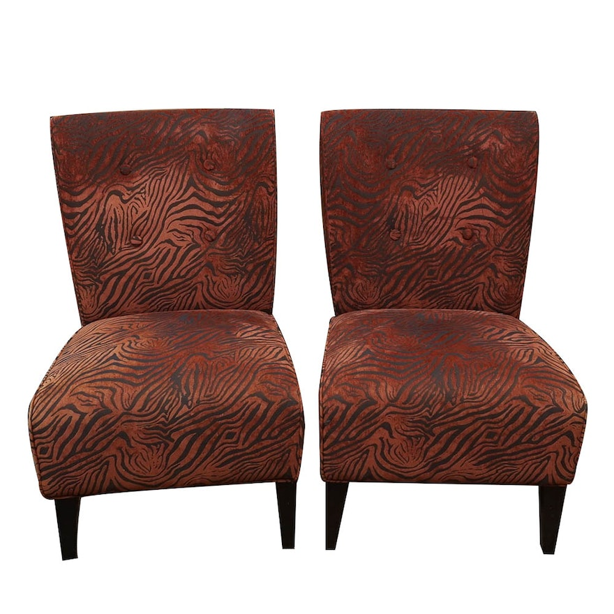 Pair Of Contemporary Upholstered Slipper Chairs By Pier 1 Imports