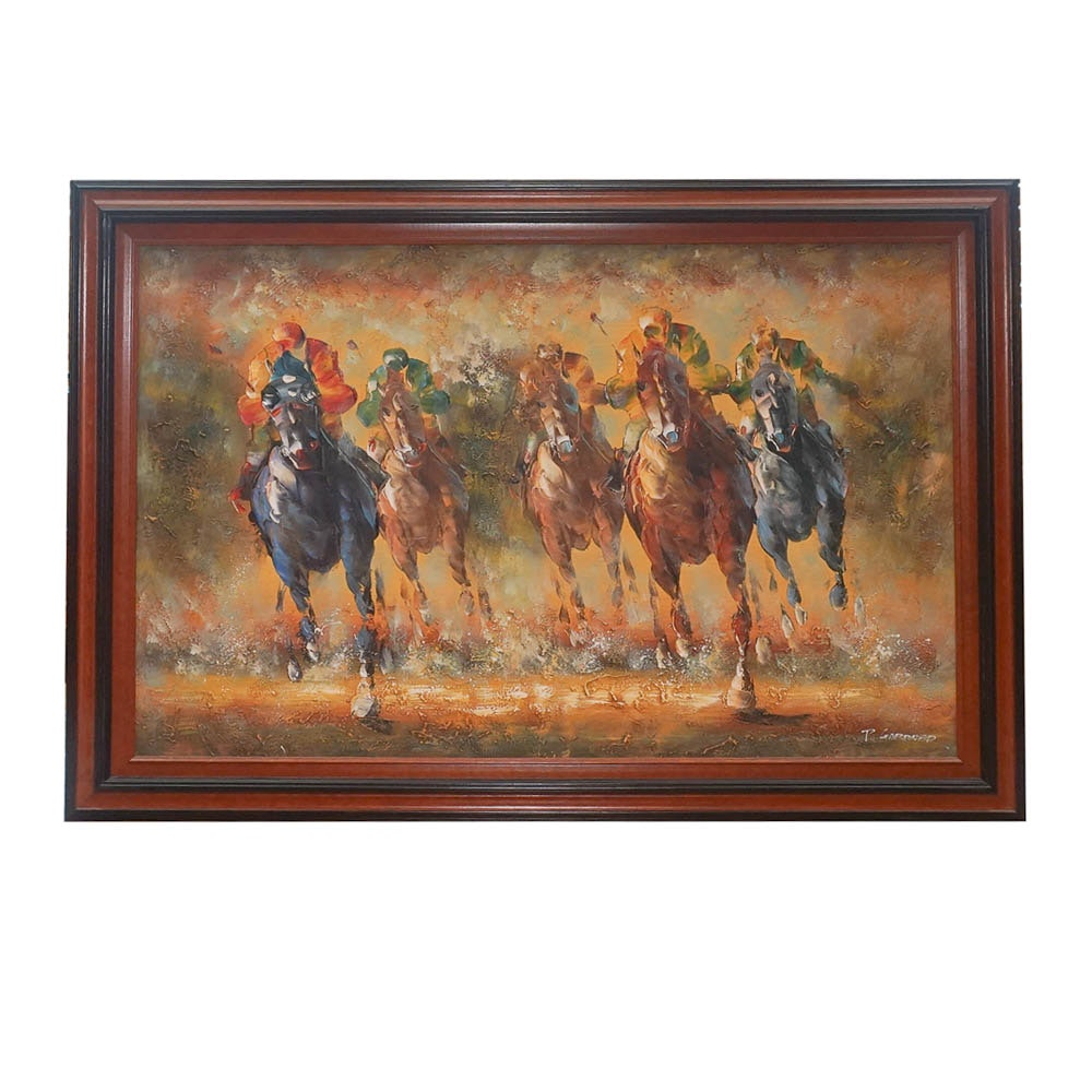 P. Gardner Painting of Race Horses