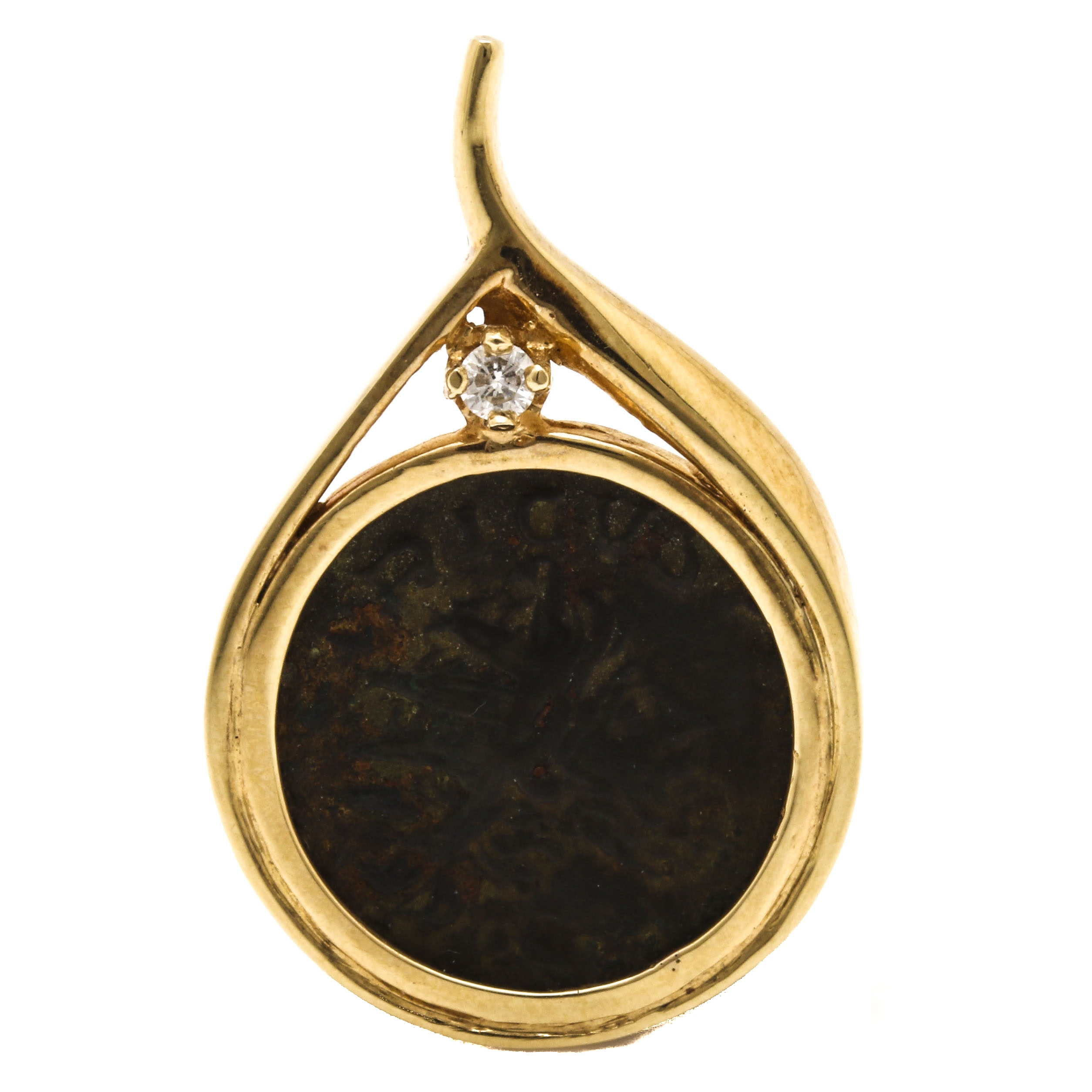 14K Yellow Gold and Diamond Ancient Roman Coin Replica Pendant
