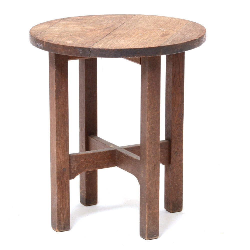 Beau Mission Style Round Oak End Table ...