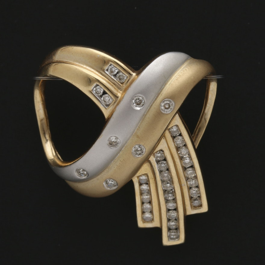 14k yellow and white gold diamond omega slide pendant ebth 14k yellow and white gold diamond omega slide pendant aloadofball Images