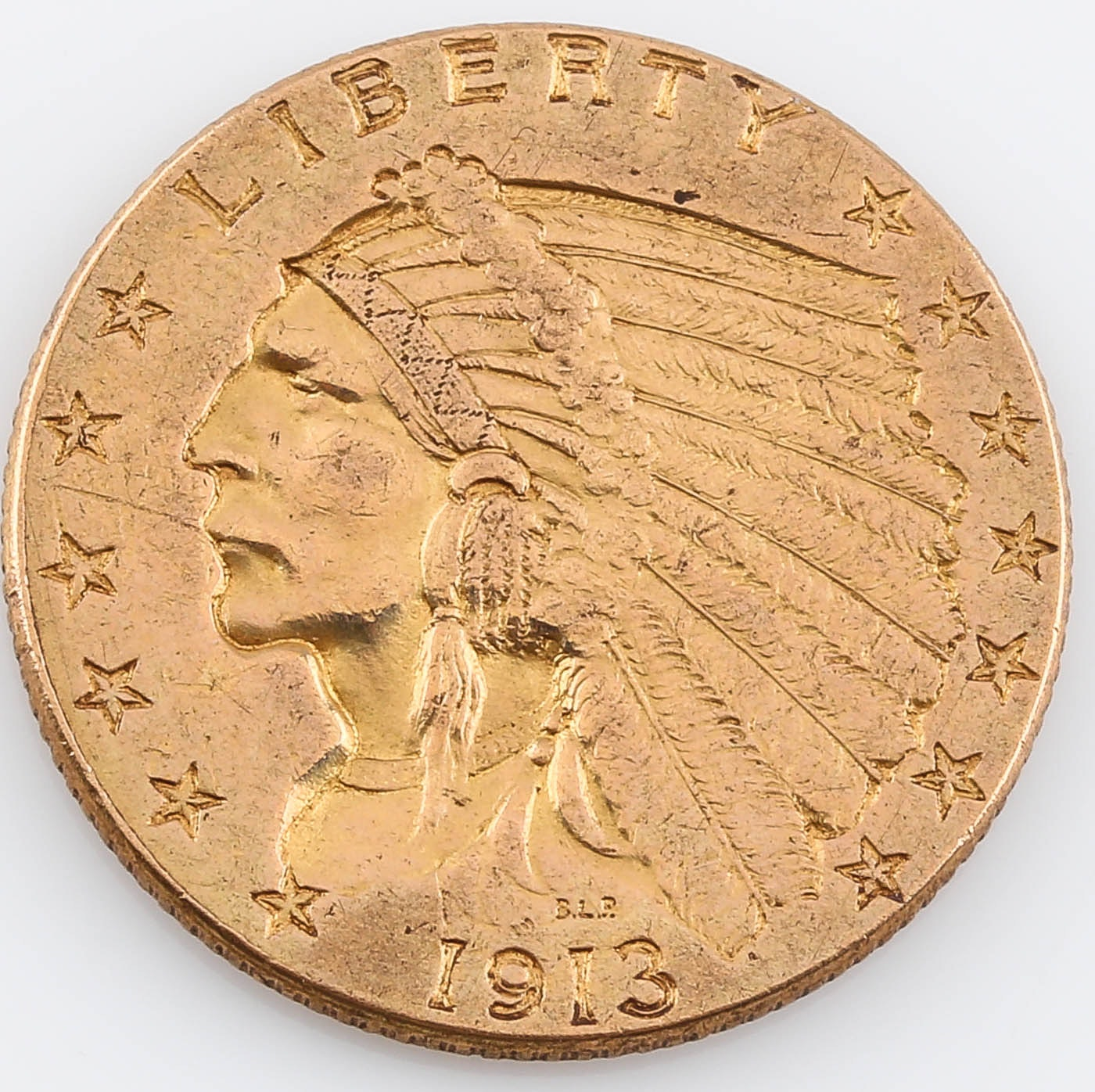 1913 Indian Head $2 1/2 Gold Coin