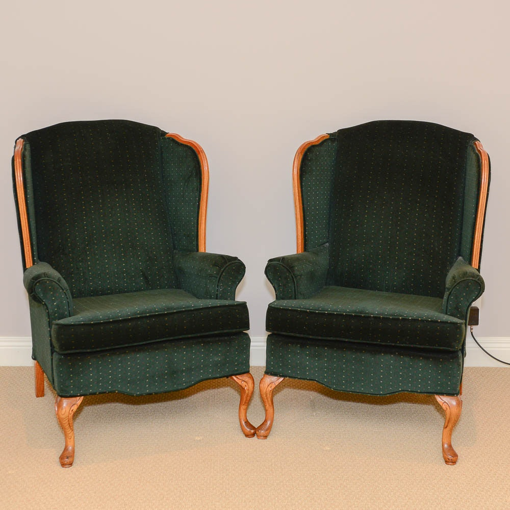 Ordinaire Pair Of Queen Anne Style Wingback Armchairs By Best Chair Company ...