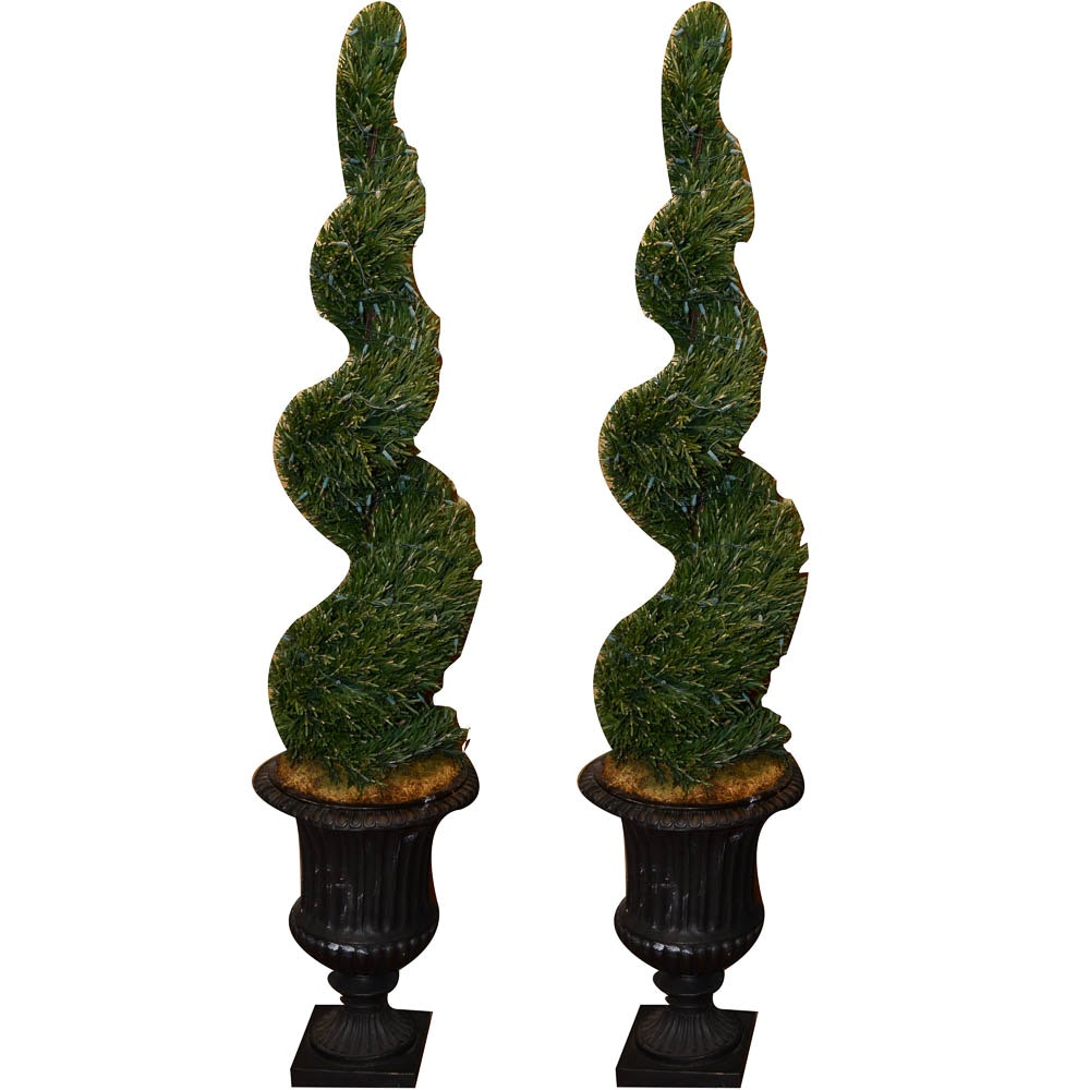 Lighted Spiral Topiaries in Classical Style Planters