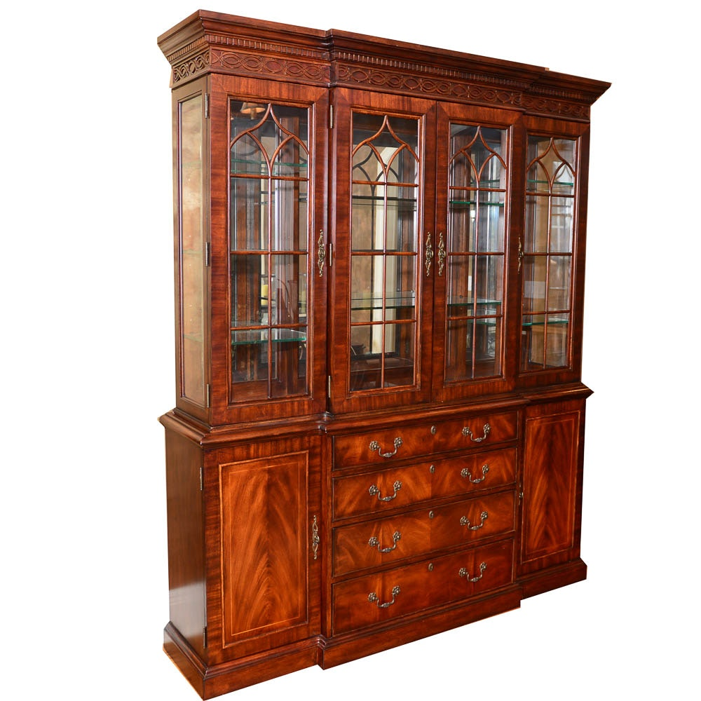 Federal Style Mahogany Breakfront China Cabinet
