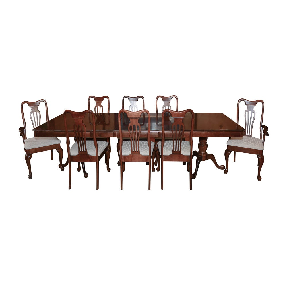 Maple Kitchen Table With Chair And Bench Ebth: Queen Anne Style Maple Dining Table With Chairs By Keller