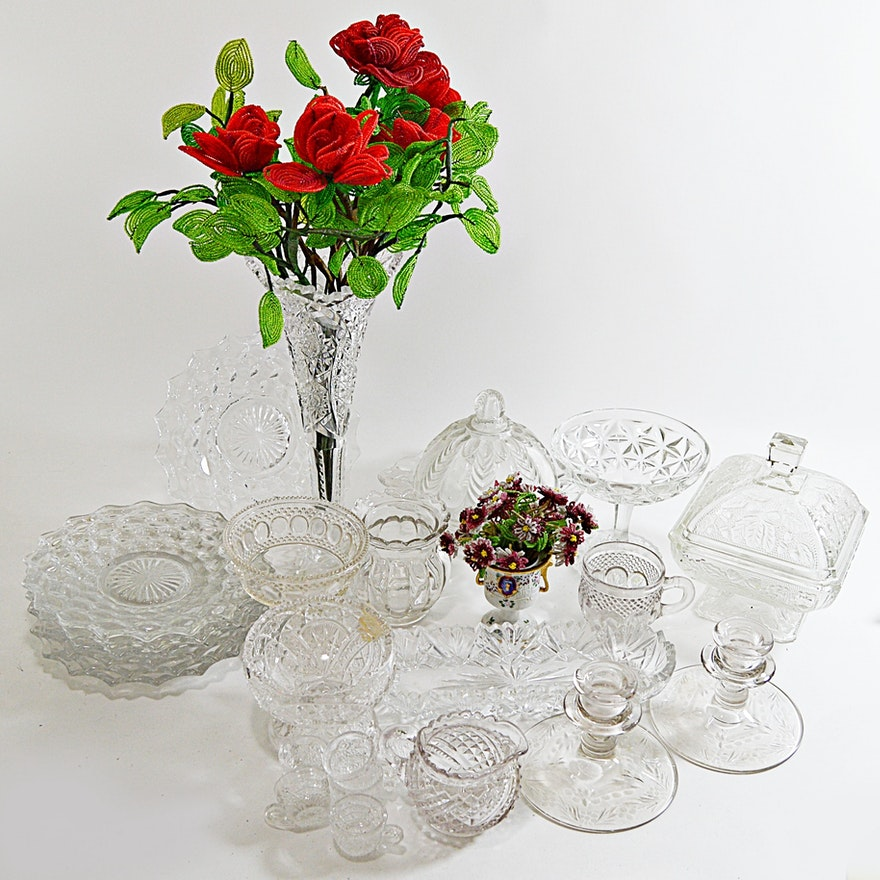 Antique To Vintage Pressed Glassware With Eapg And Beaded Flowers Ebth
