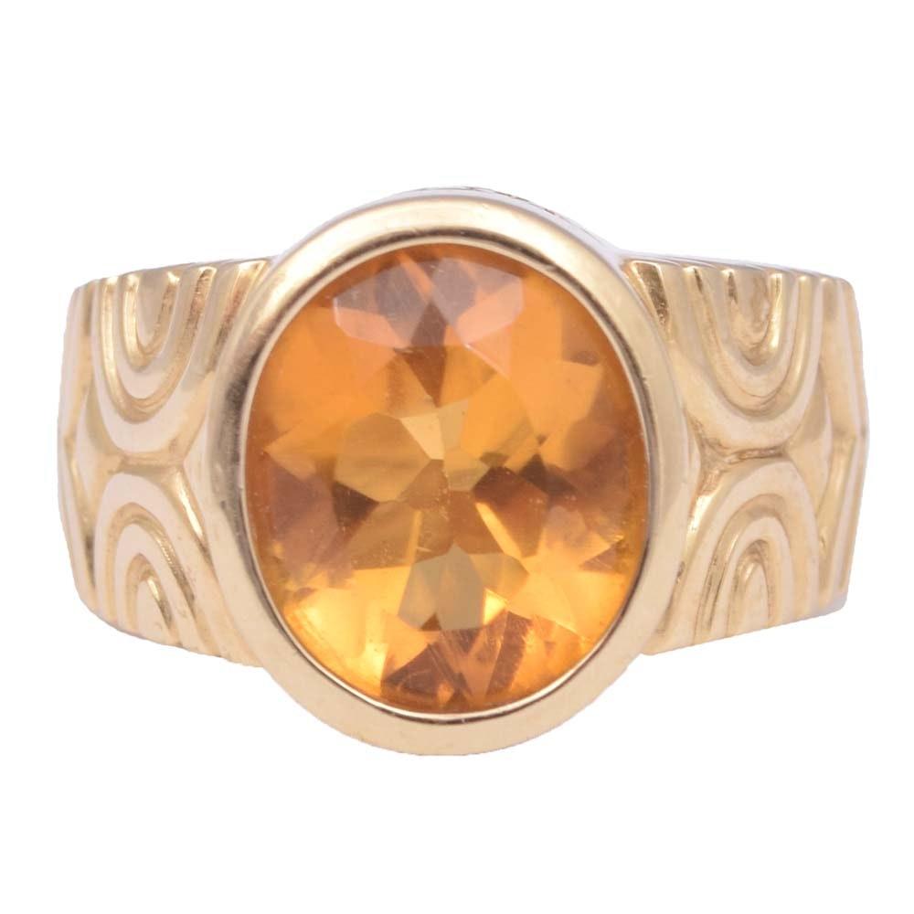 14K Yellow Gold Bezel Set 3.50 CT Citrine Ring