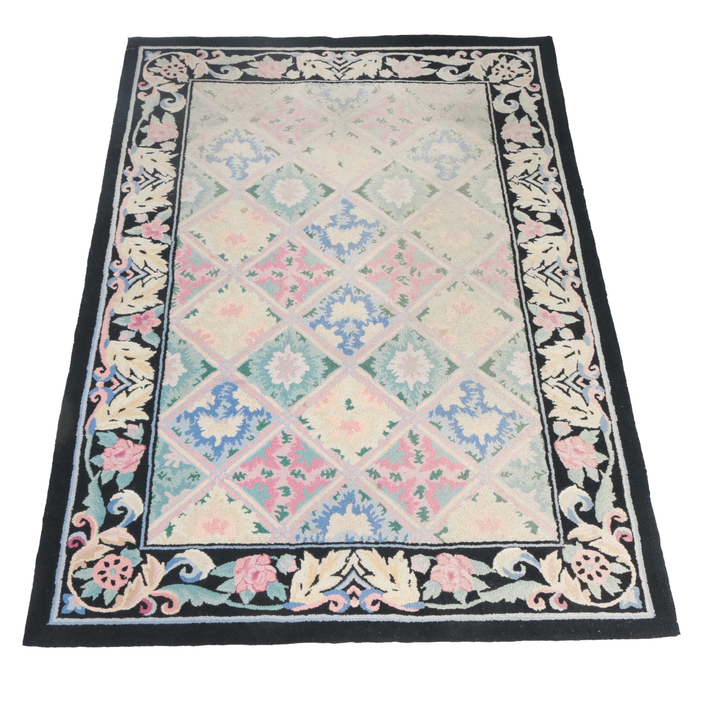 Hand-Hooked Wool Floral Area Rug