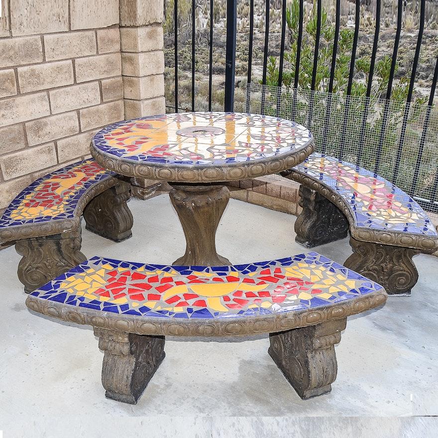 Mosaic Concrete Outdoor Patio Set Ebth