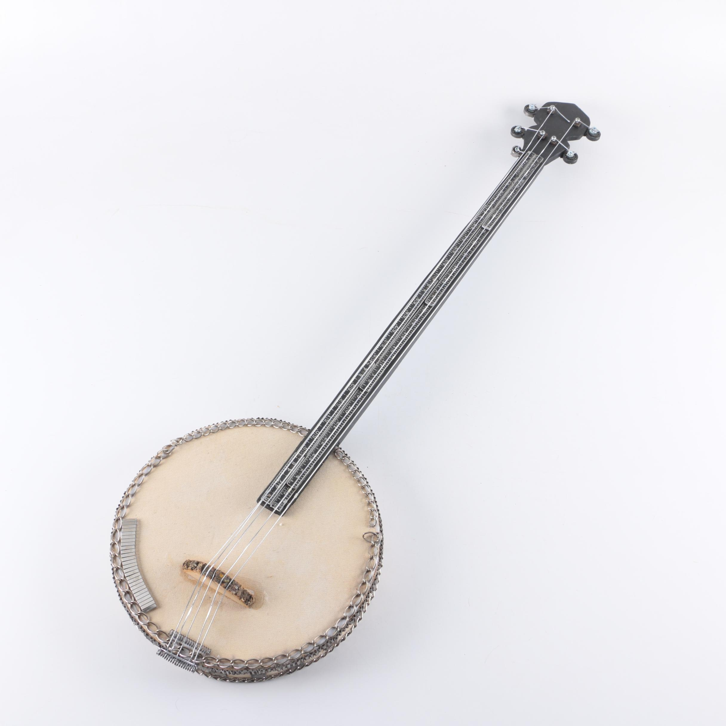 Handmade Decorative Folk Art Banjo with Salvaged Materials