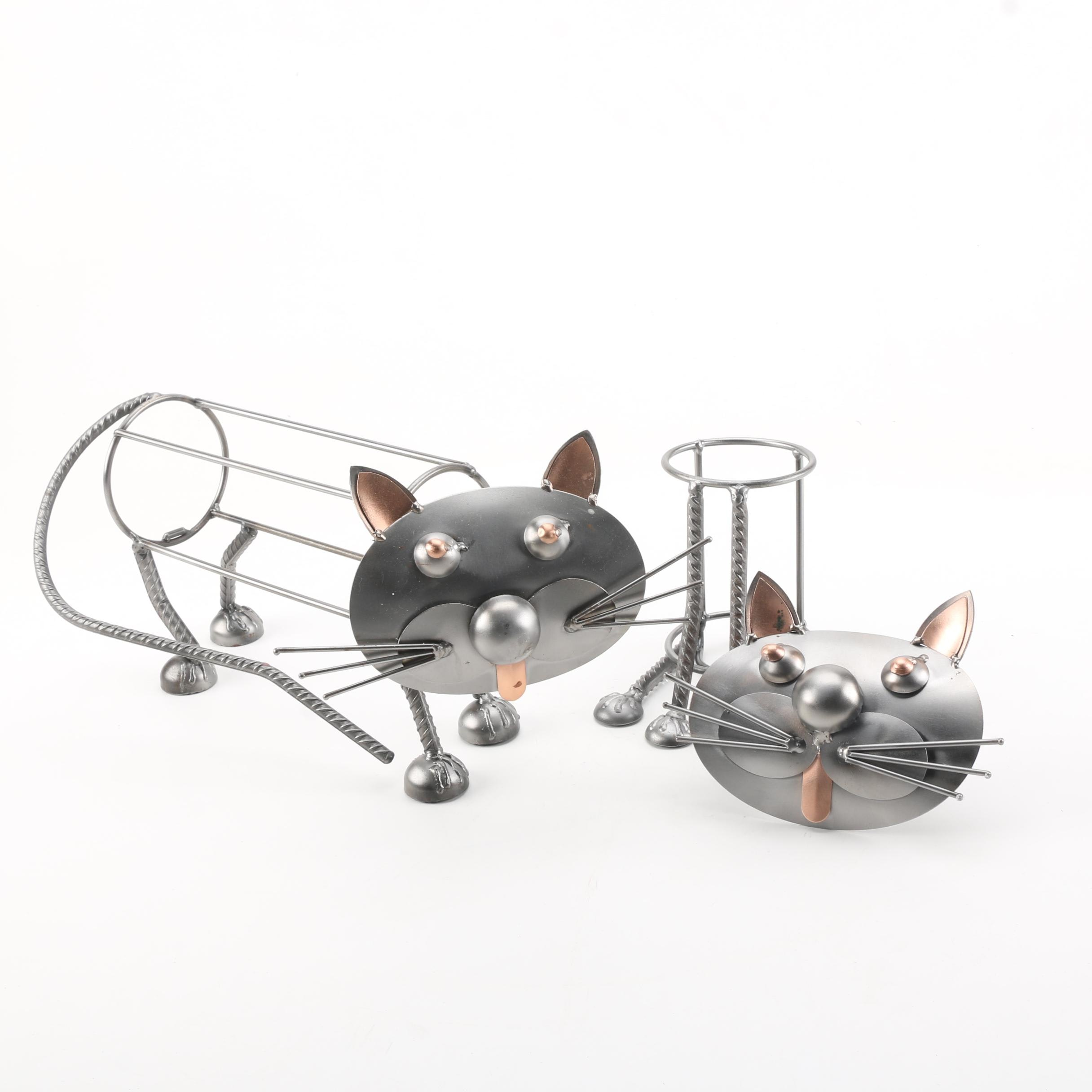 Metal Cat Wine Bottle Holders