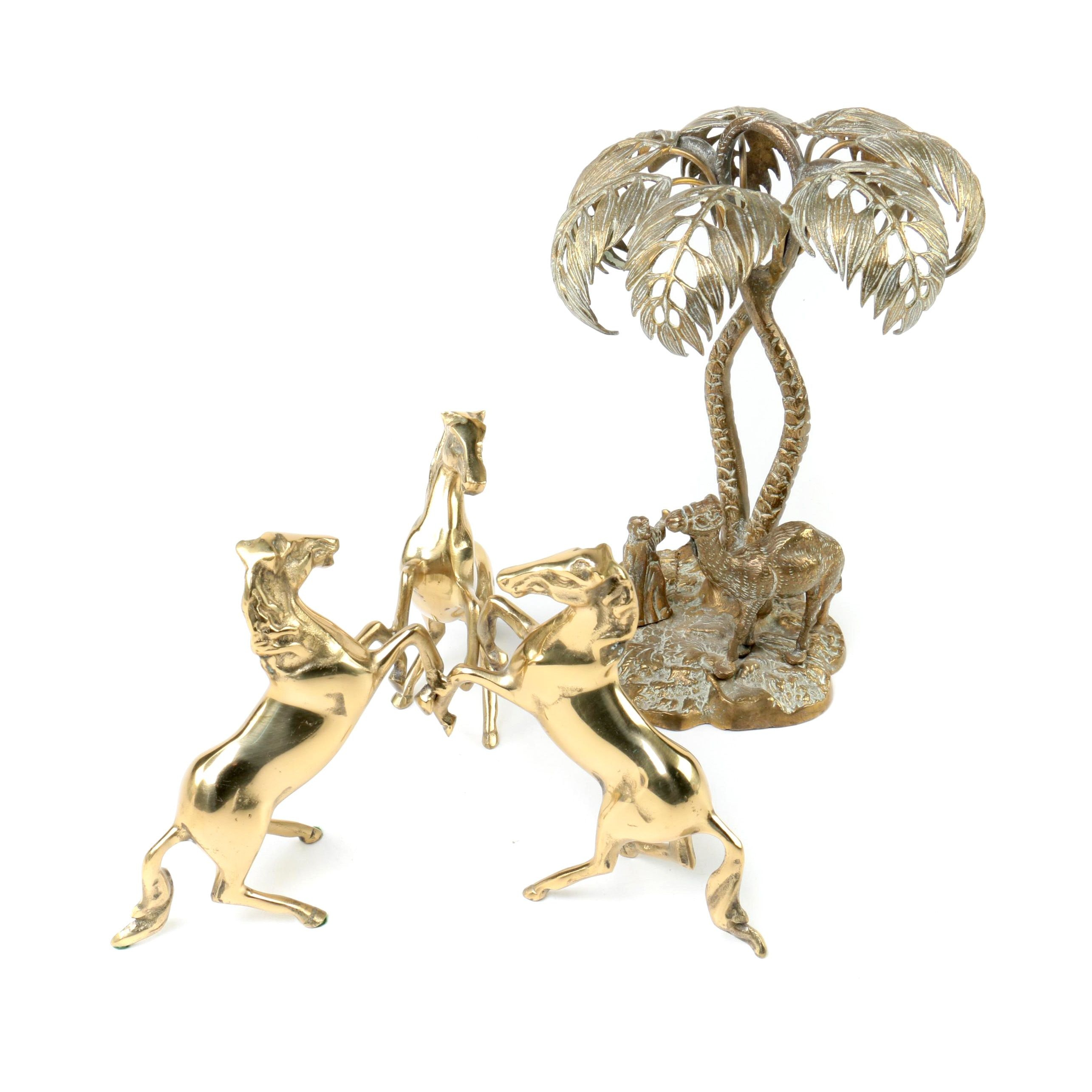 Brass Horse and Camel Figurines