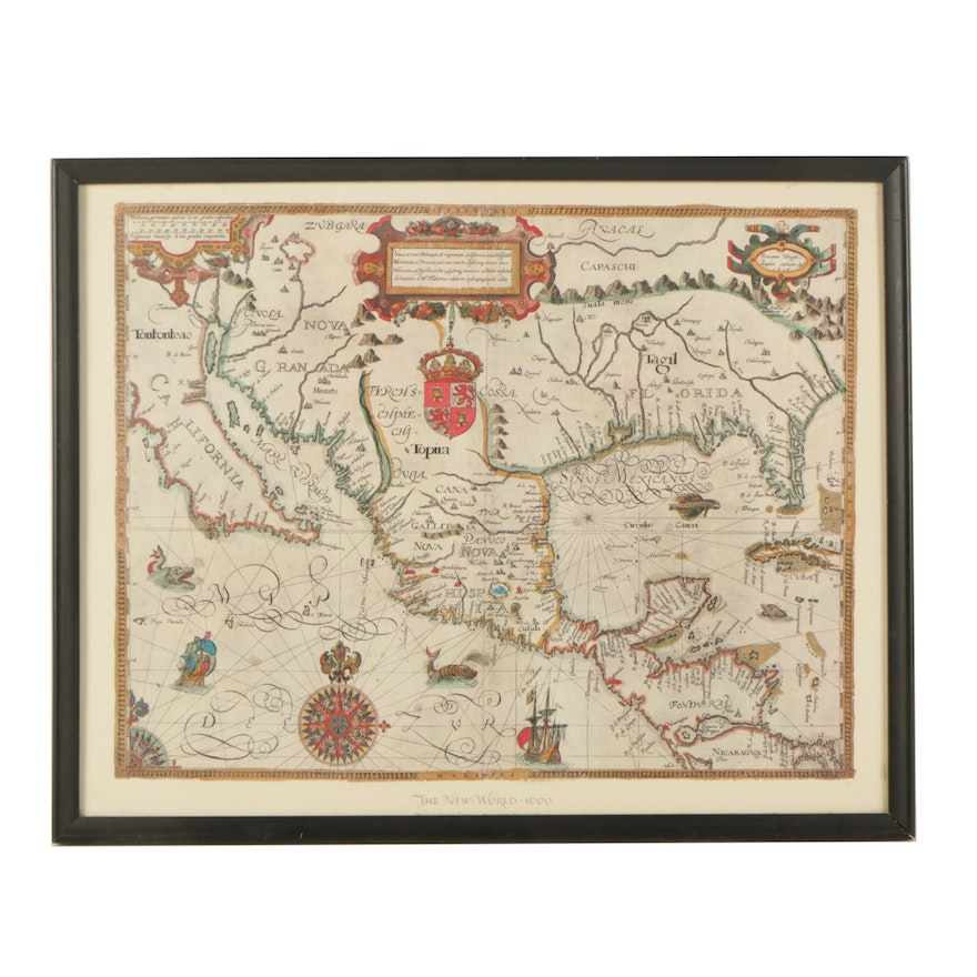 Reproduction Map On Paper The New World 1600 Ebth
