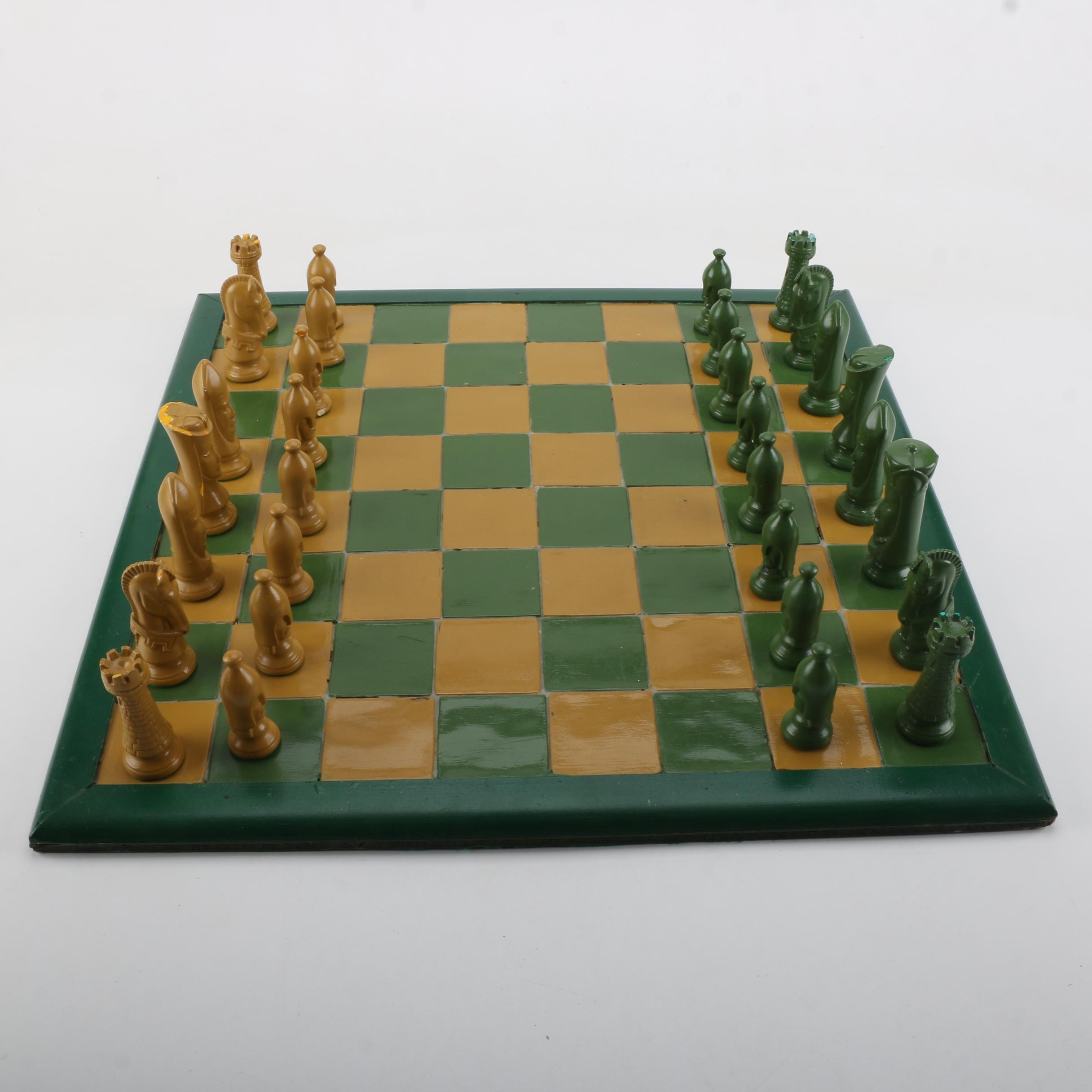 Yellow and Green Chess Board