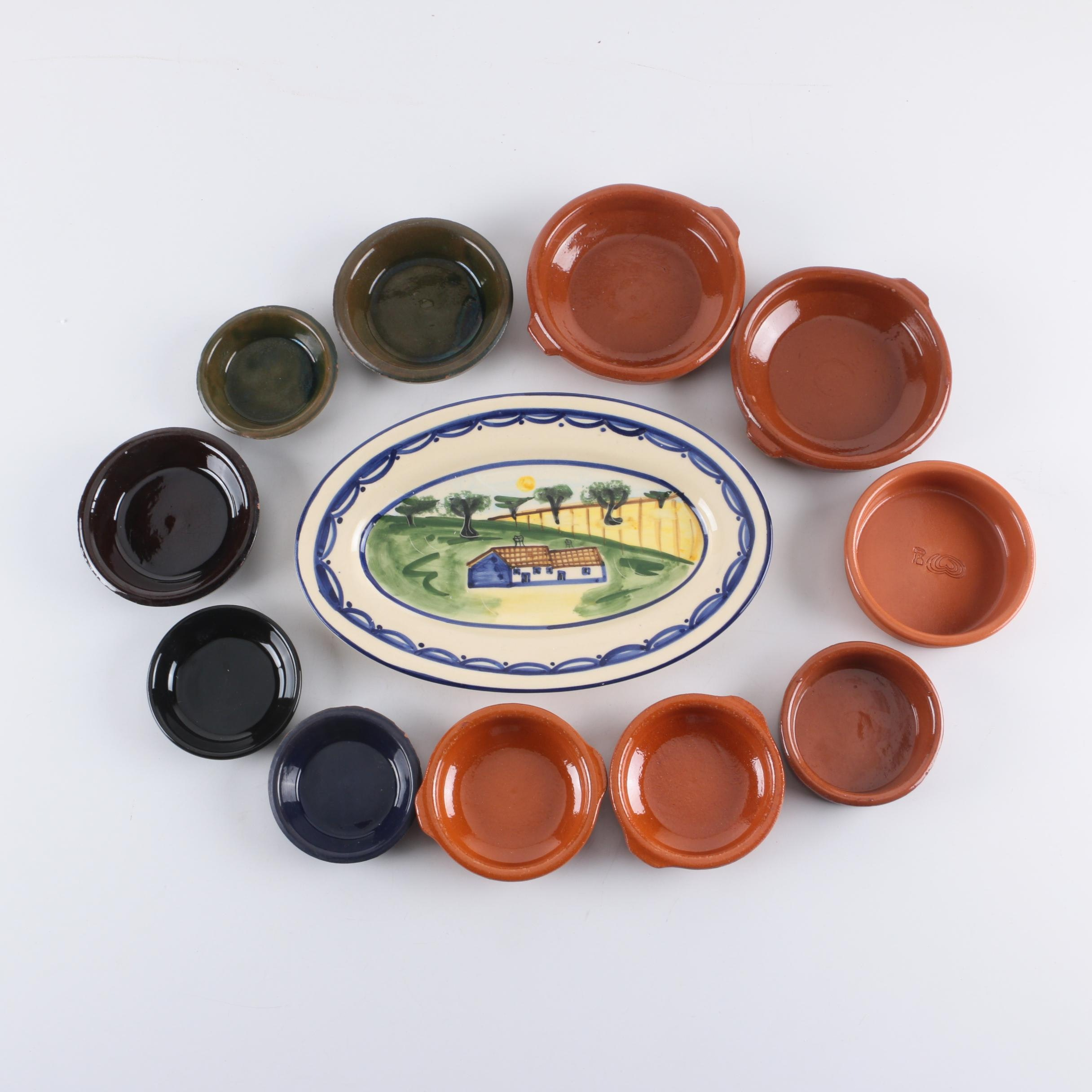 F. Macedo Portuguese Serving Platter with Earthenware Cazuela Dishes