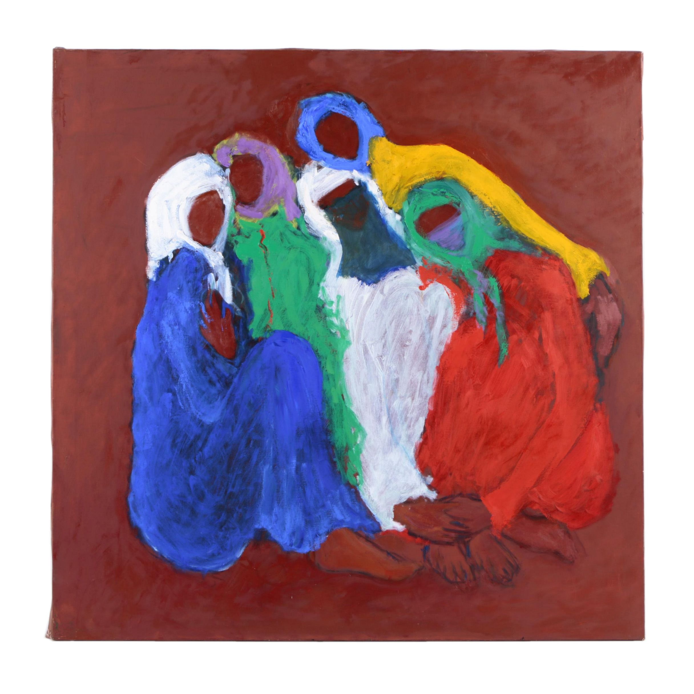 Oil Painting of Women in Headscarves