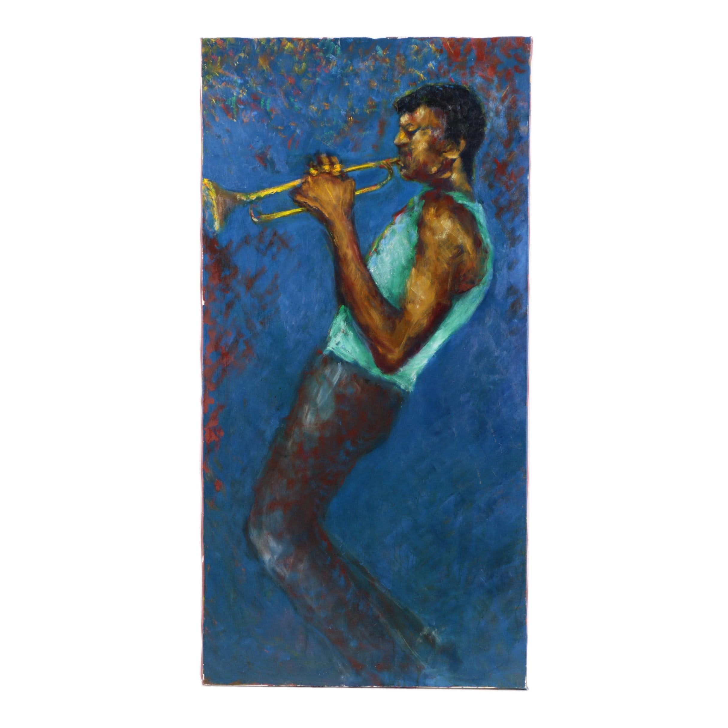Oil Painting of a Trumpet Player Attributed to Eloe Woolf-Laiken