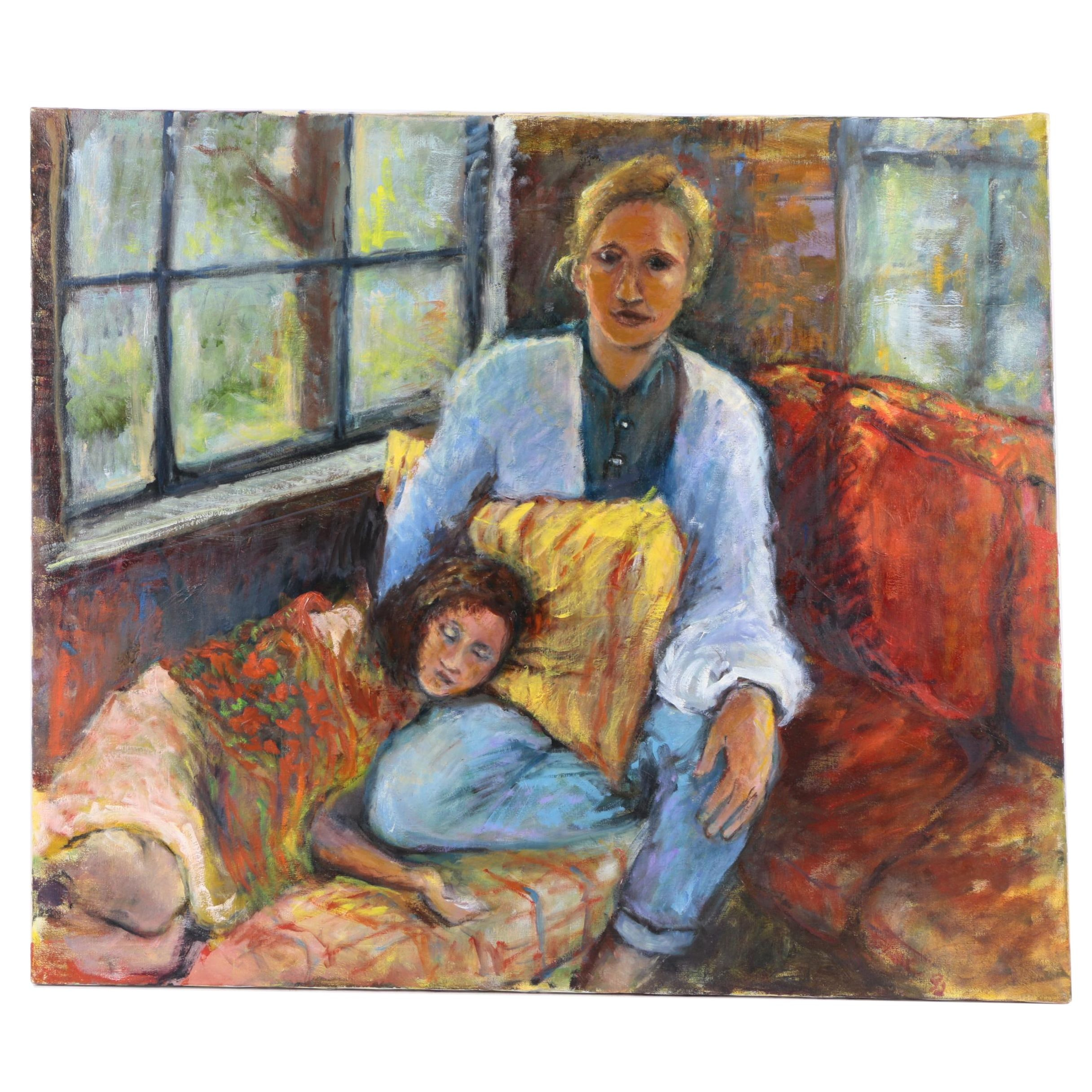 Eloe Woolf-Laiken Oil Painting of a Mother and Child