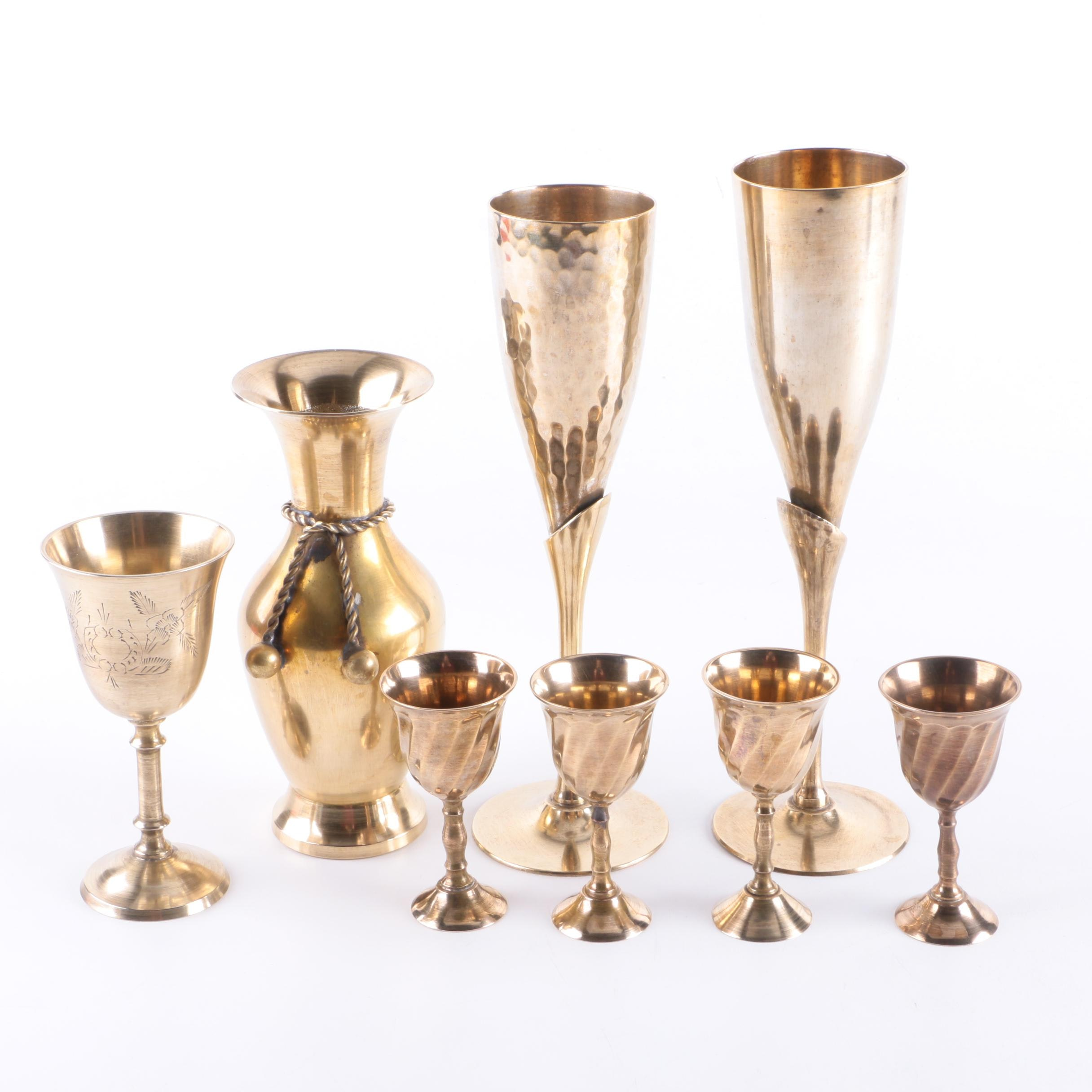 Brass Stemware and Decorative Vase