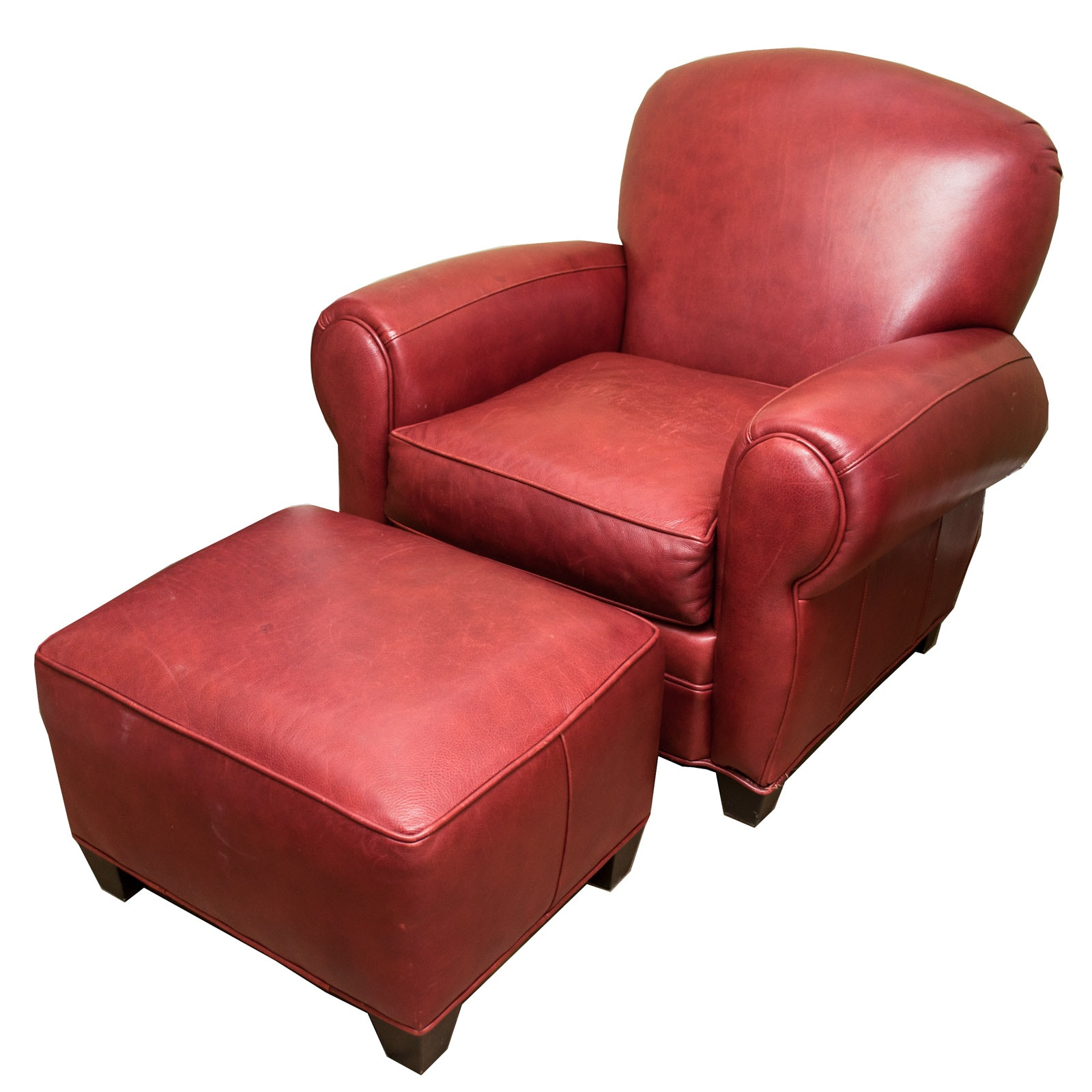 Red Leather Chair & Ottoman By Arhaus Furniture