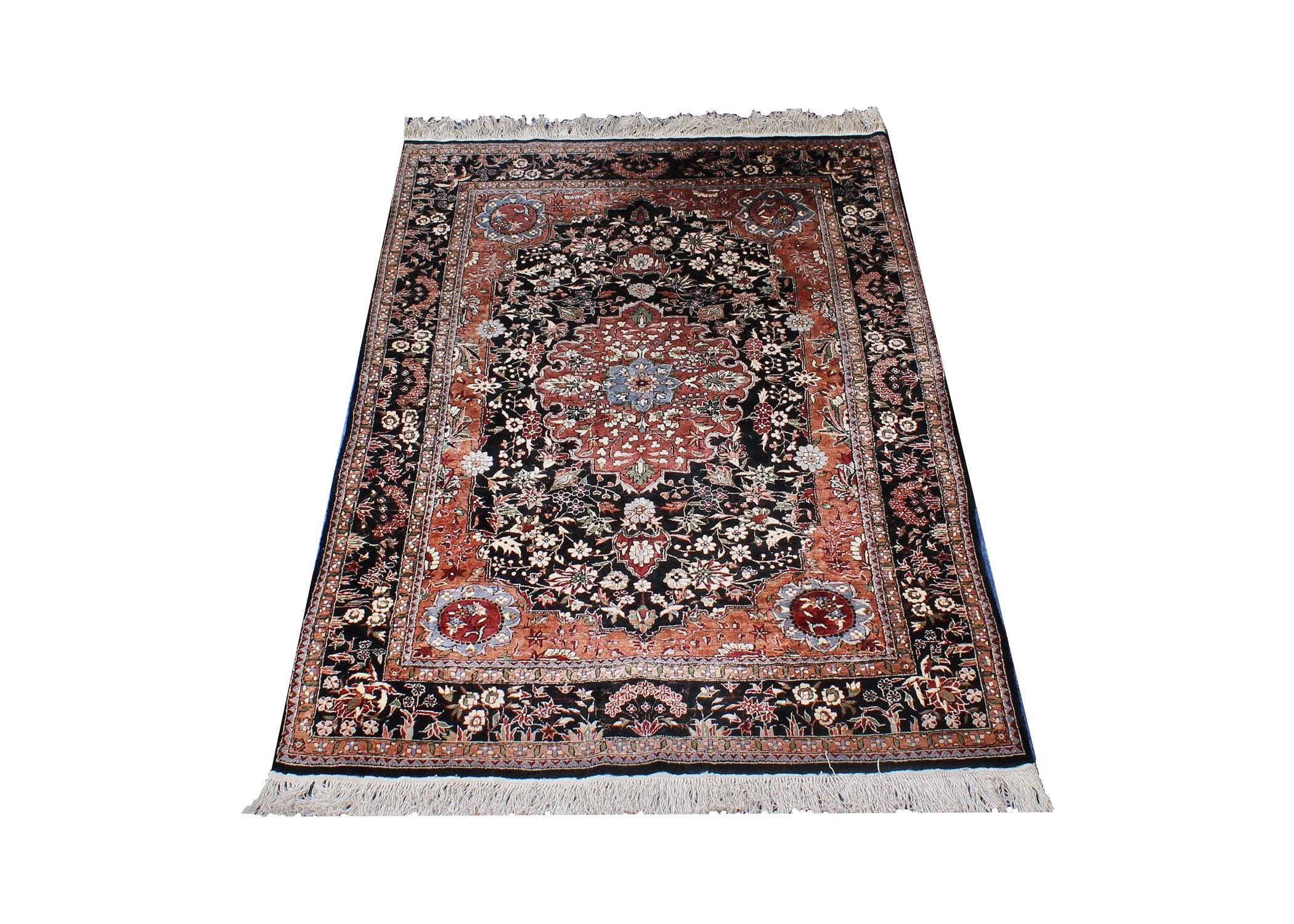 Hand-Knotted Yezd Wool Accent Rug