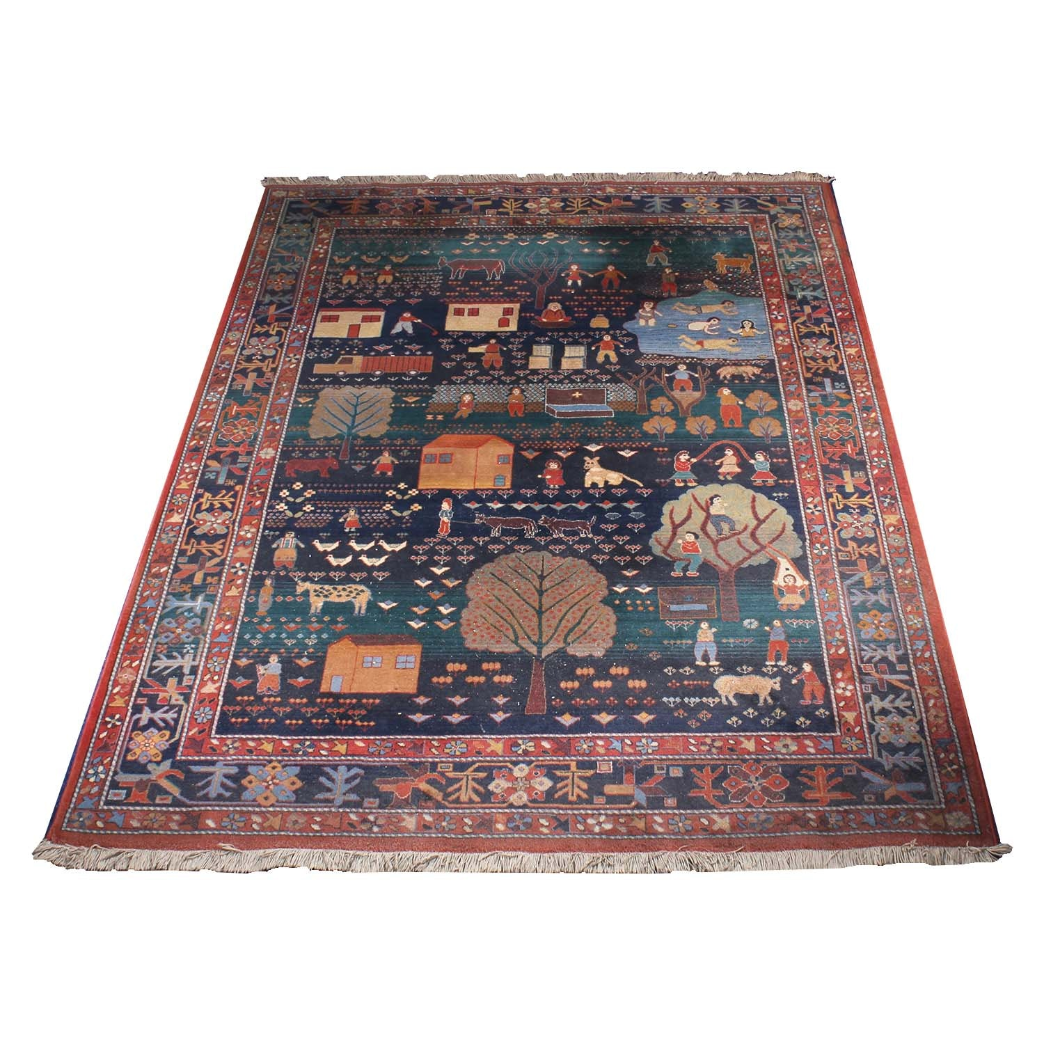 Power Loomed Pictorial Rural Life Area Rug