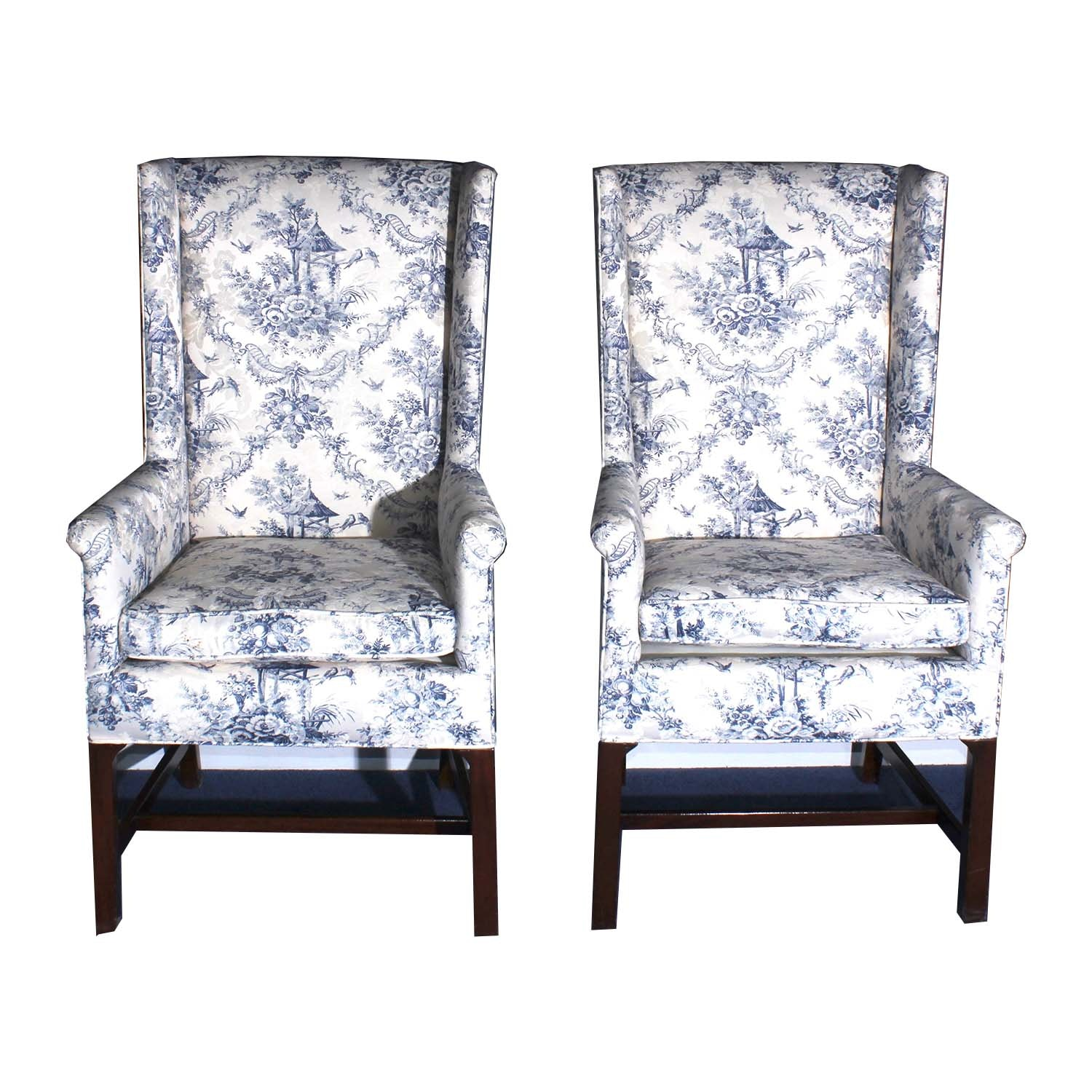 Chippendale Style Wingback Armchairs with Toile Upholstery