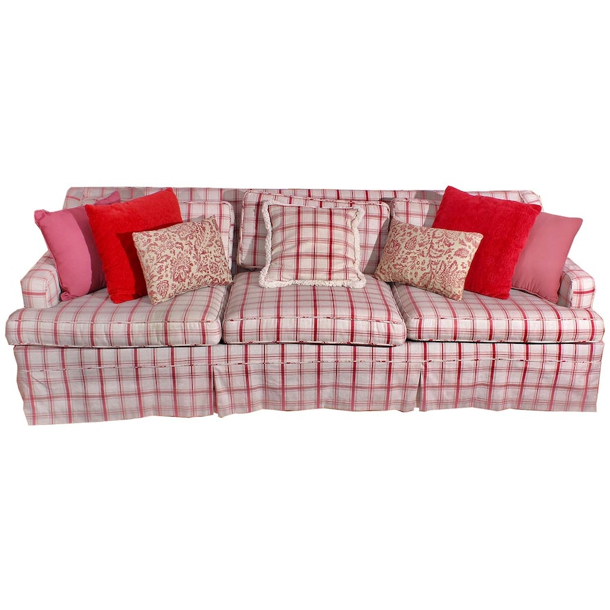 Red and Cream Plaid Sofa and Accent Pillows : EBTH