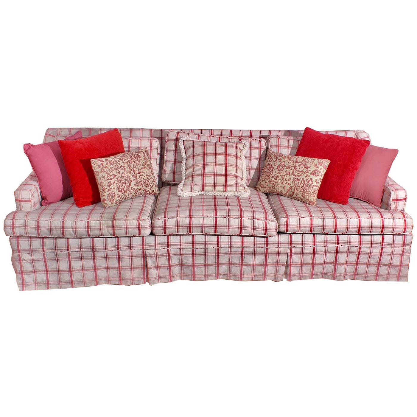 Red And Cream Plaid Sofa And Accent Pillows Ebth