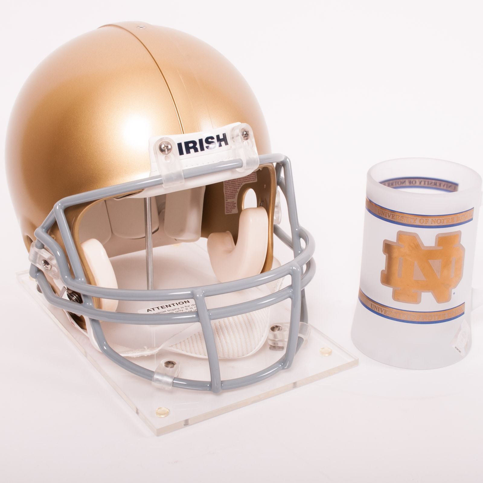 "Notre Dame ""Fighting Irish"" Football Helmet and Mug"